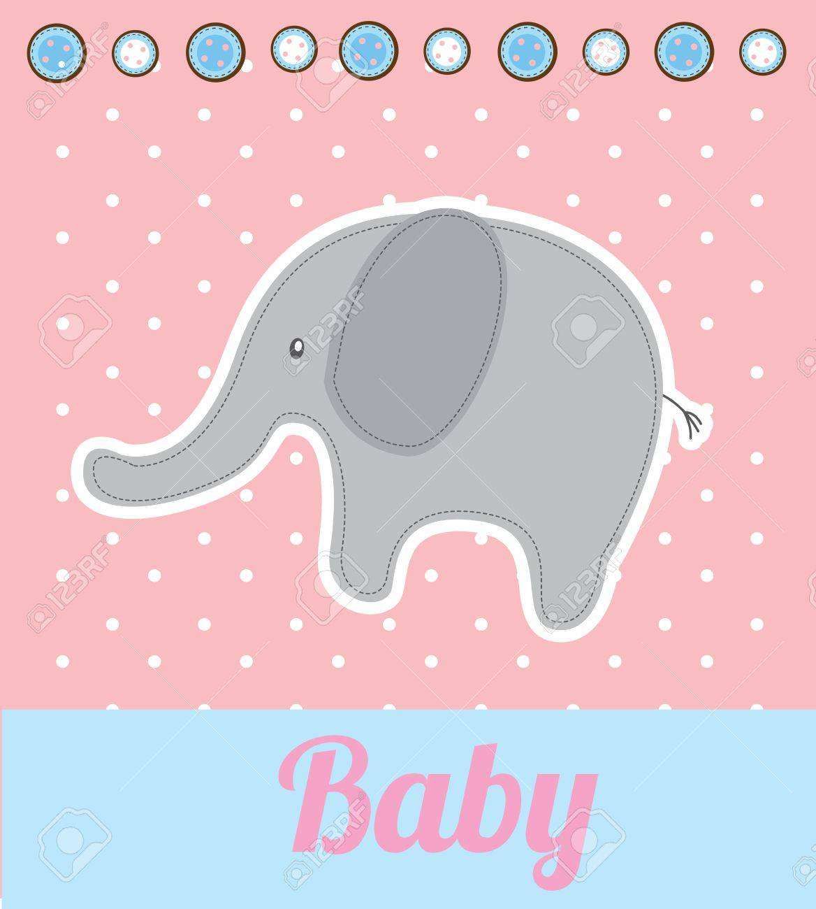 baby elephant over pink background vector illustration - 20498919