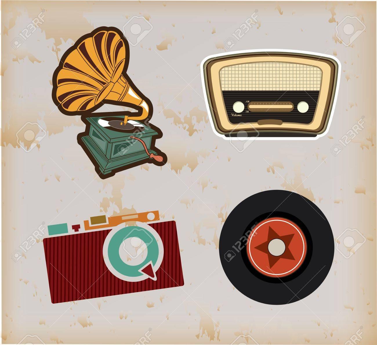 old technology over vintage background vector illustration Stock Vector - 20500569