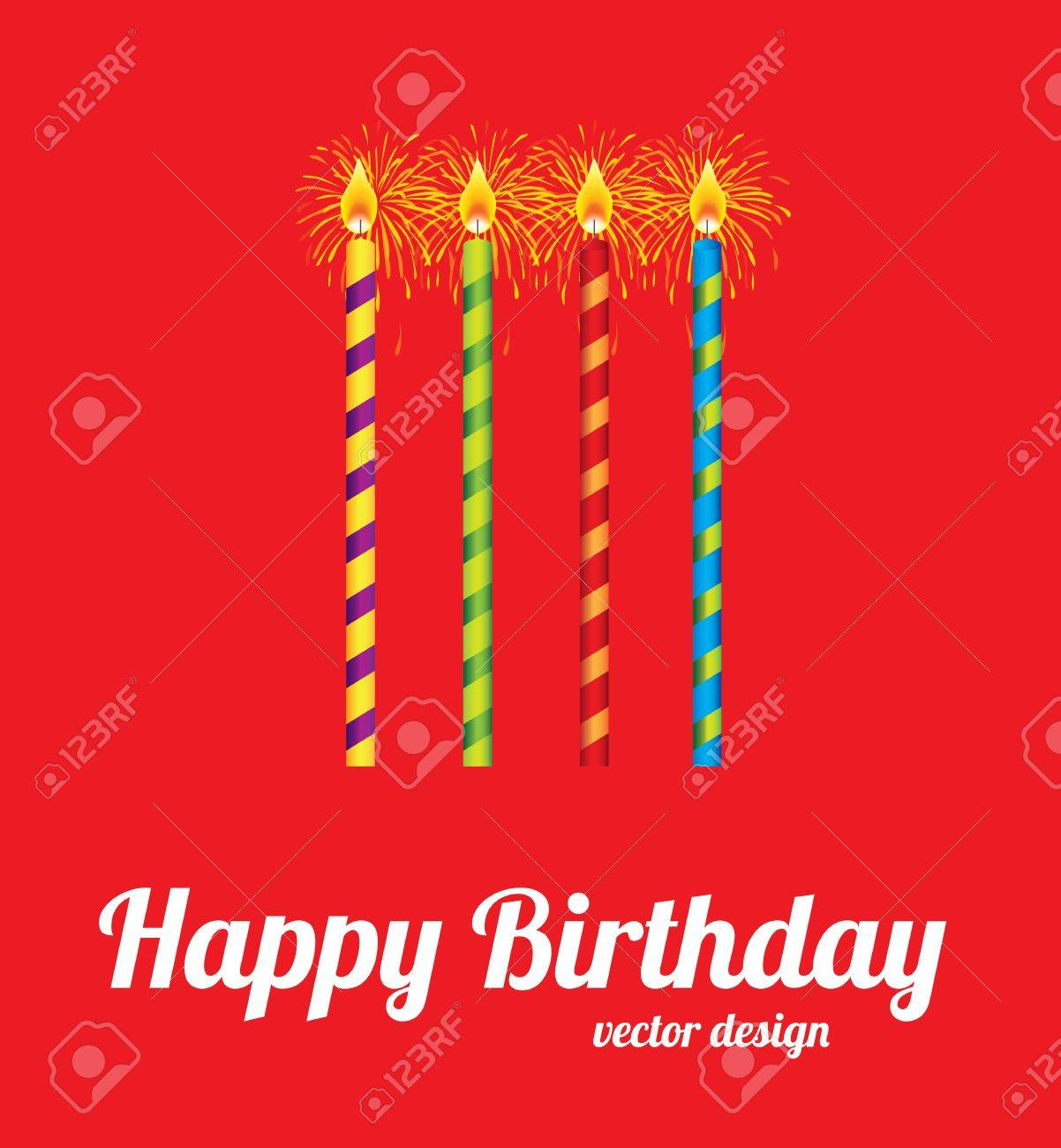 Happy Birthday Card Over Red Background Vector Illustration Royalty Free Cliparts Vectors And Stock Illustration Image 20499646