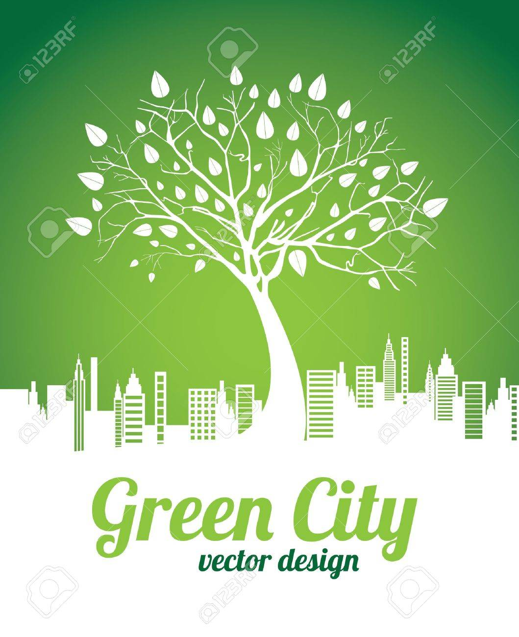 green city over green background vector illustration Stock Vector - 20499306