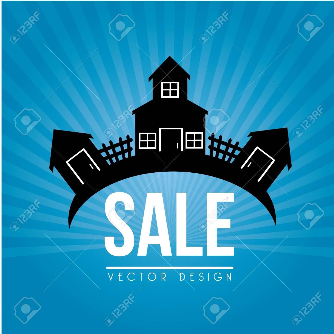 house for sale design over blue background vector illustration Stock Vector - 20500664