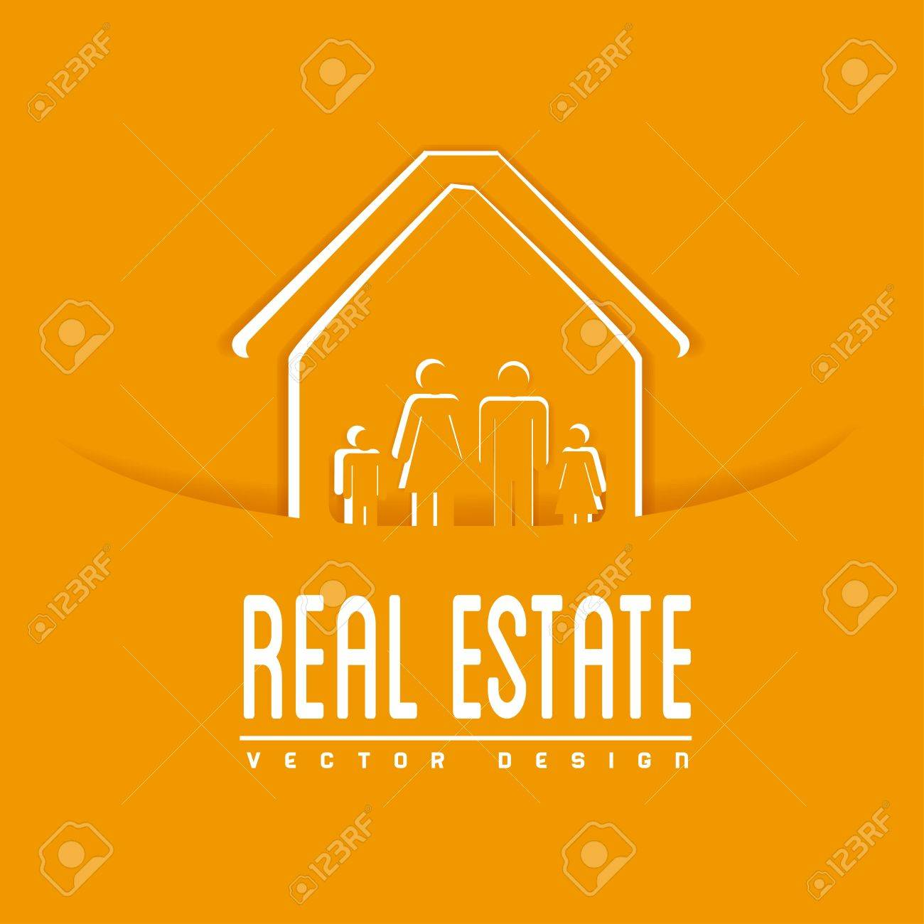 real estate design over orange background vector illustration Stock Vector - 20500374