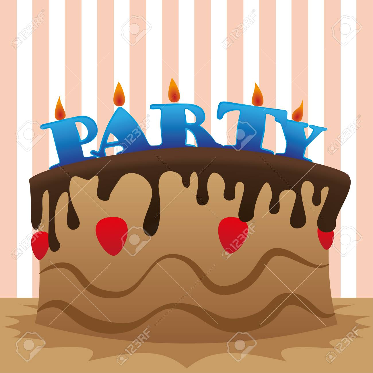 cake party over lines background vector illustration Stock Vector - 20499960