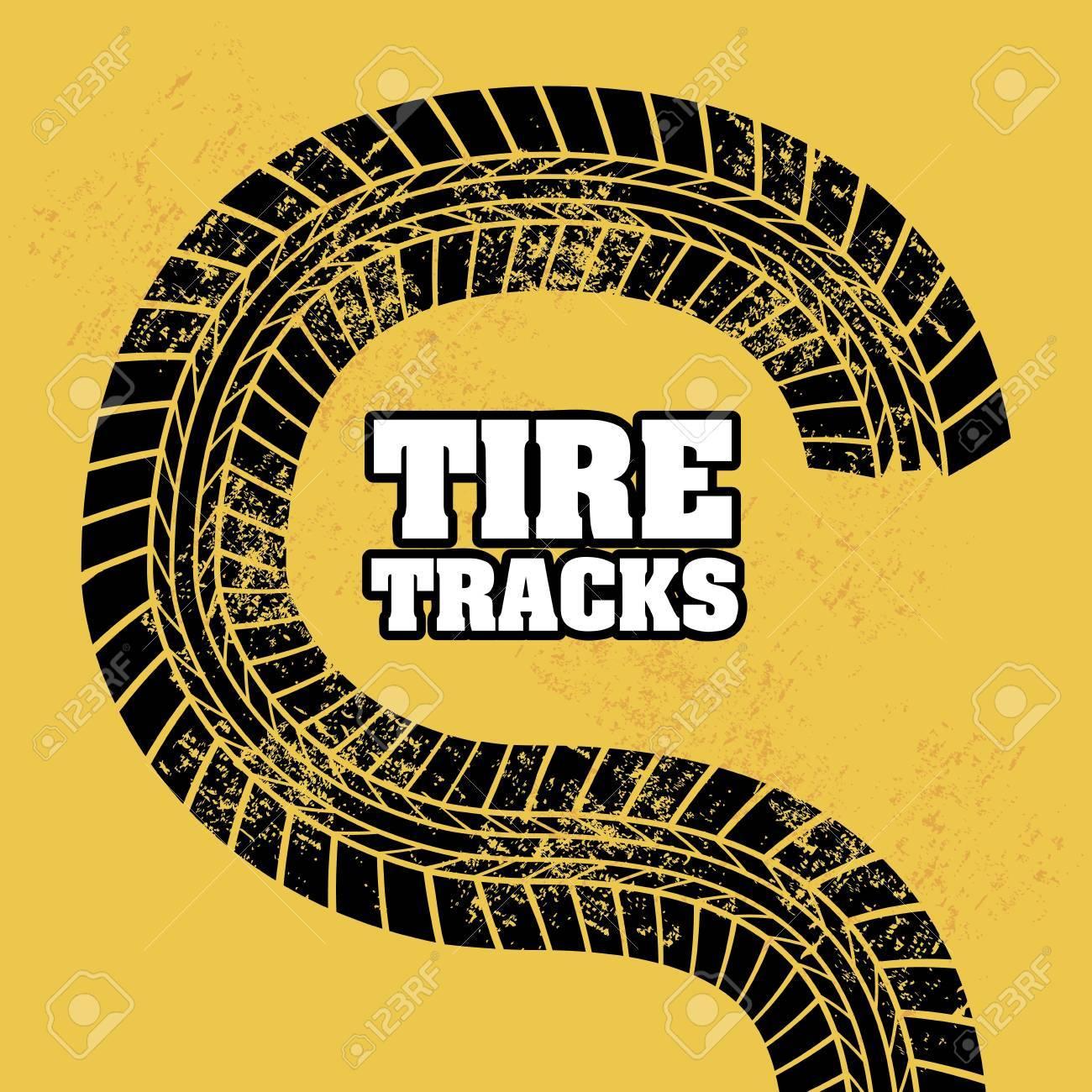 tire tracks over orange background Stock Vector - 20961245