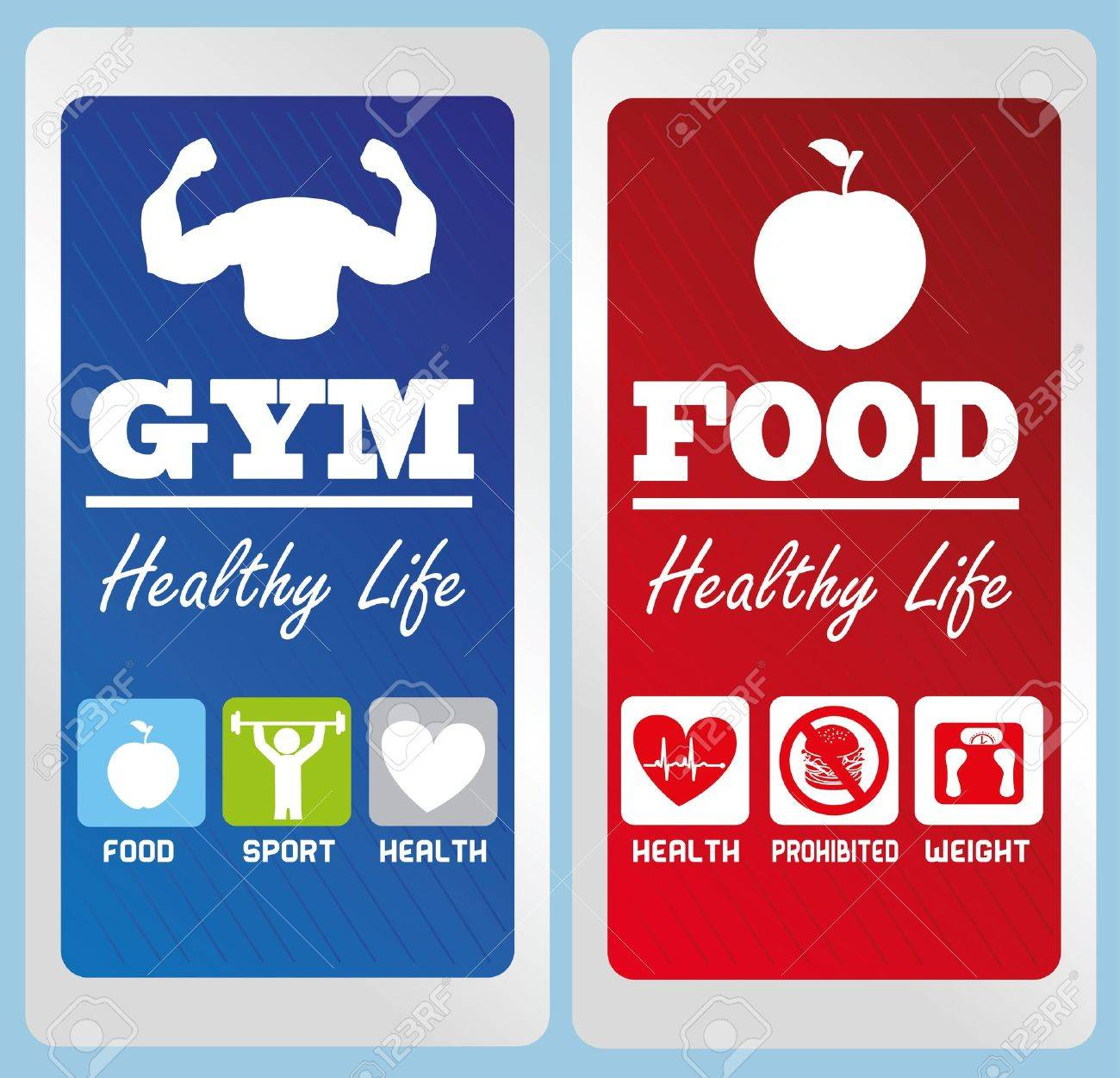 healthy life labels over blue background illustration Stock Vector - 20982720