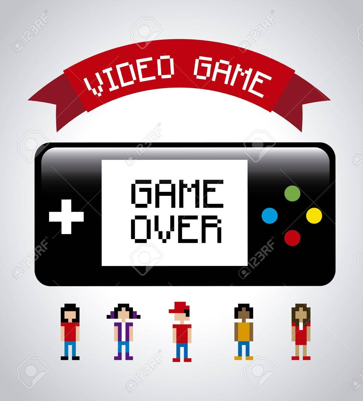 video game design over gray background Stock Vector - 21236004
