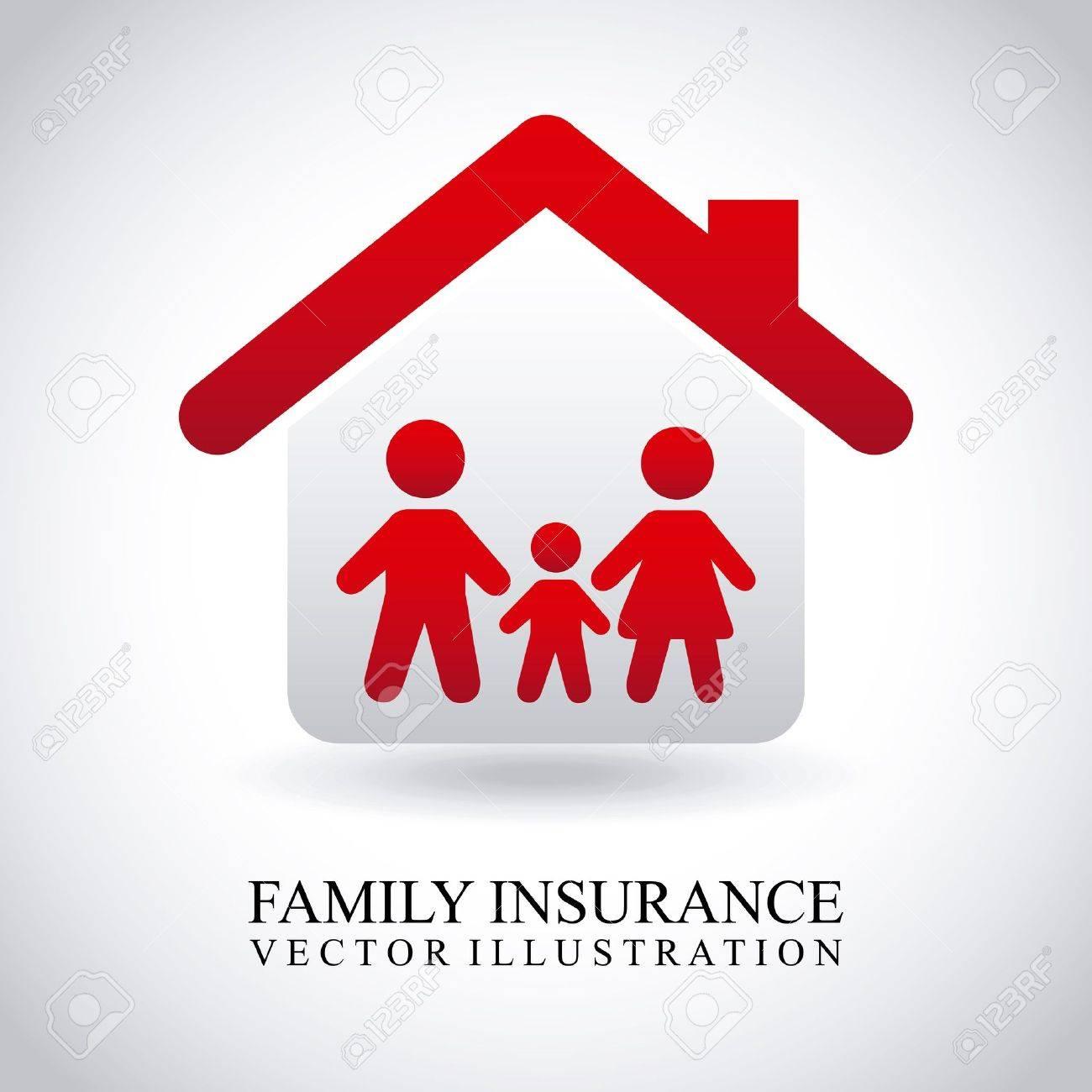 family insurance over gray background Stock Vector - 21287097