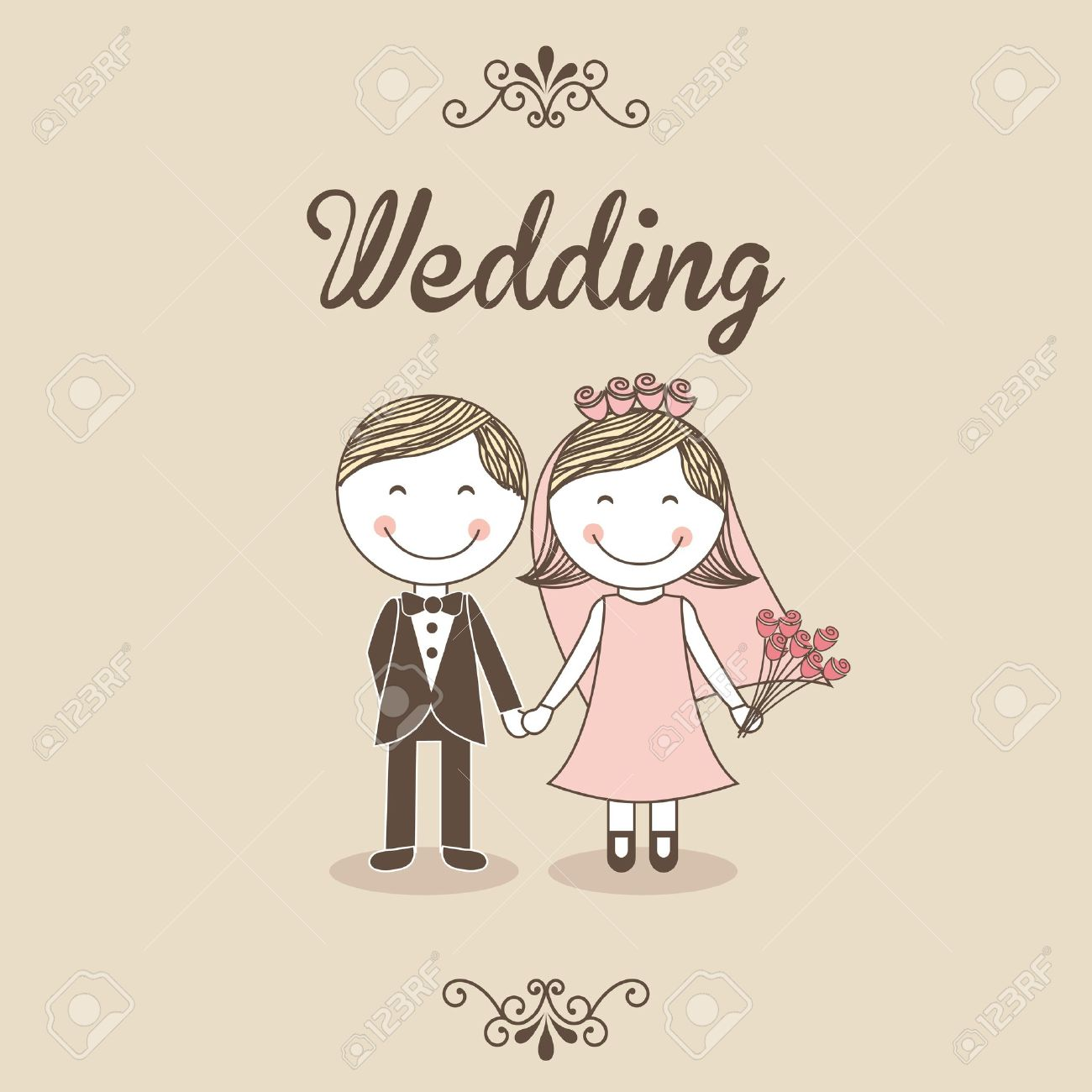 Wedding Design Over Pink Background