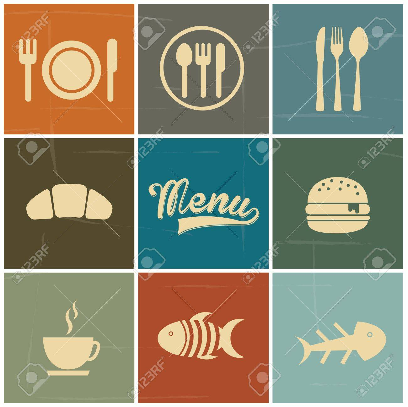 menu icons over colorful background vector illustration Stock Vector - 21371928