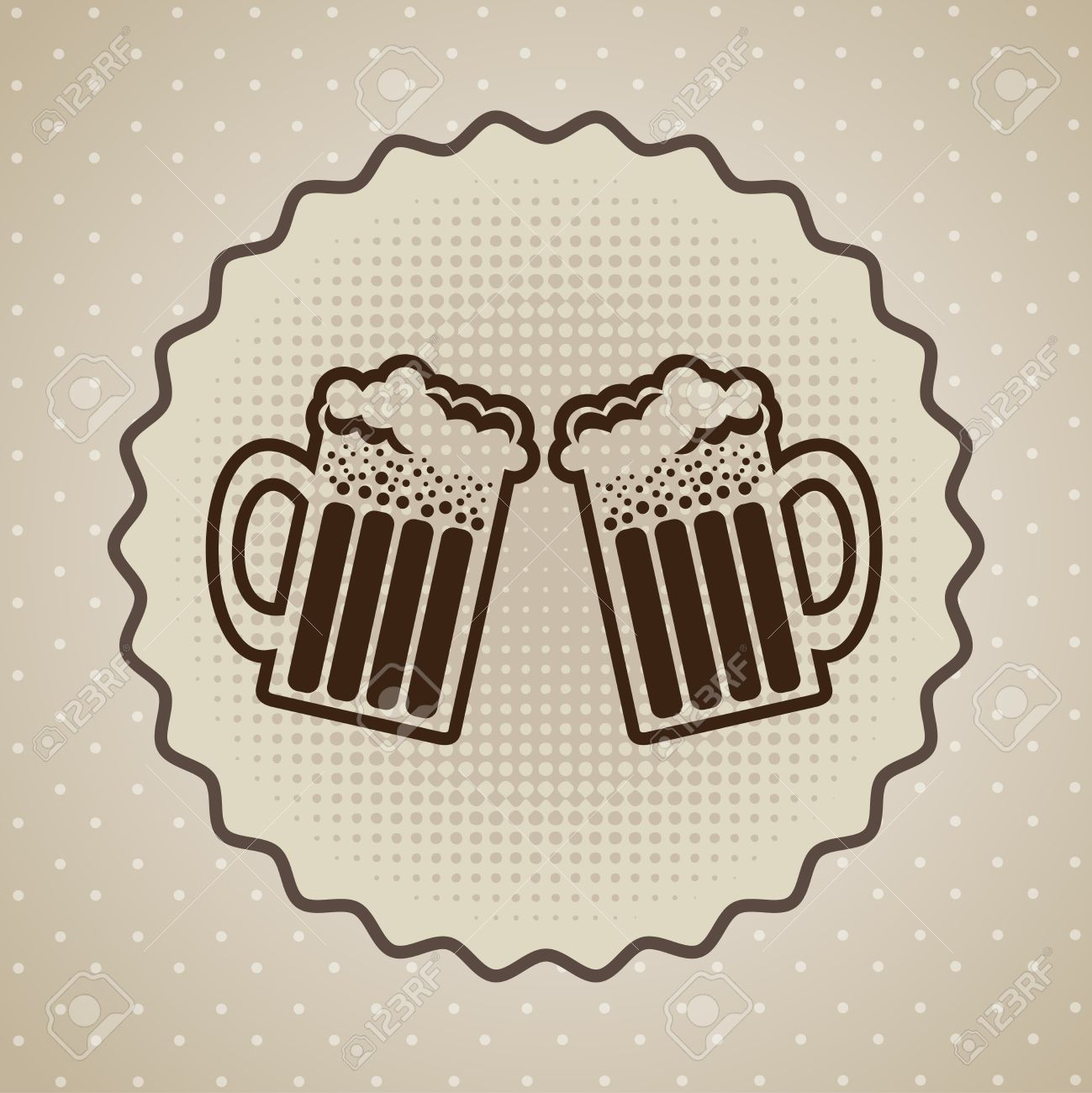 Beers label over dotted background Stock Vector - 21678841