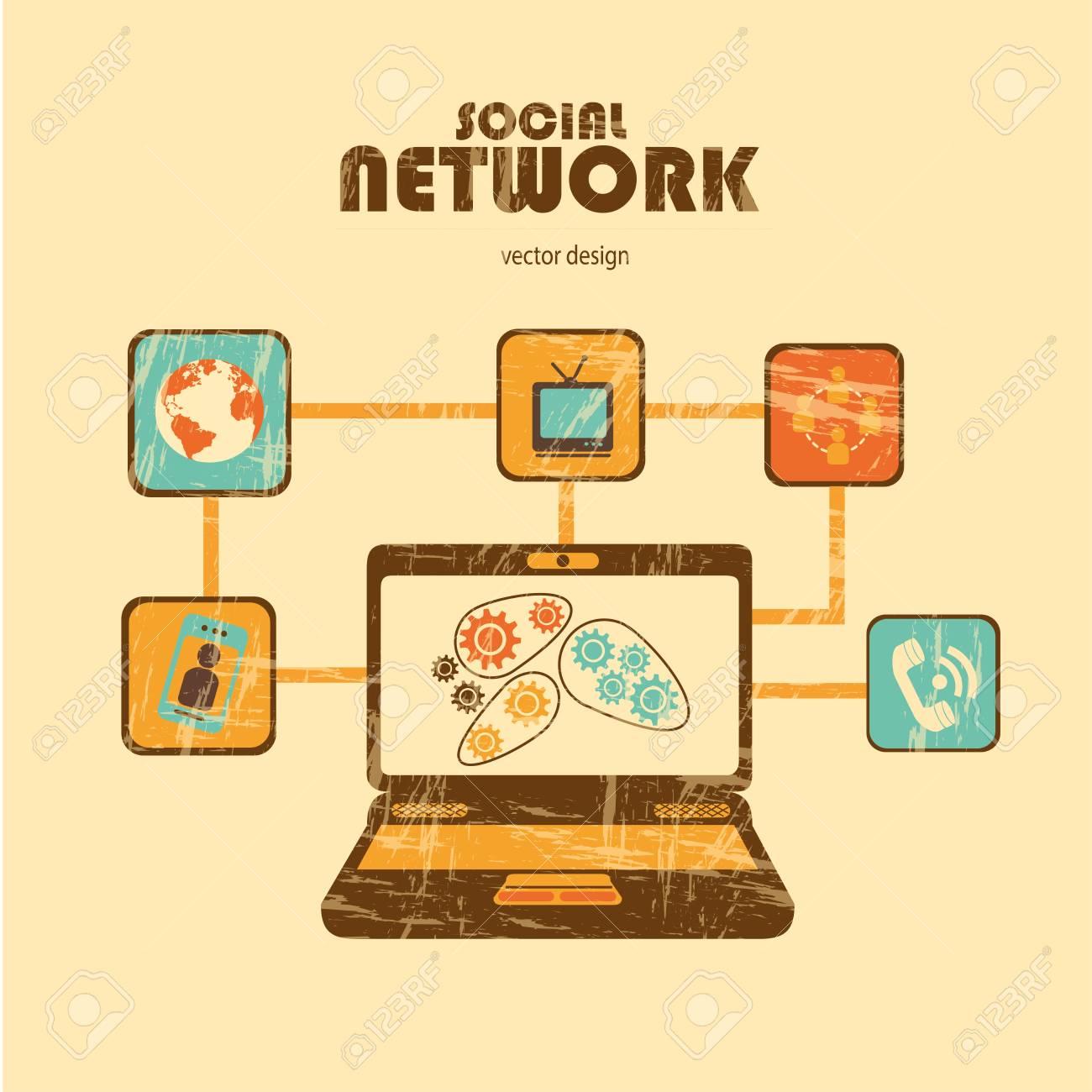 social network over cream  background Stock Vector - 21679167
