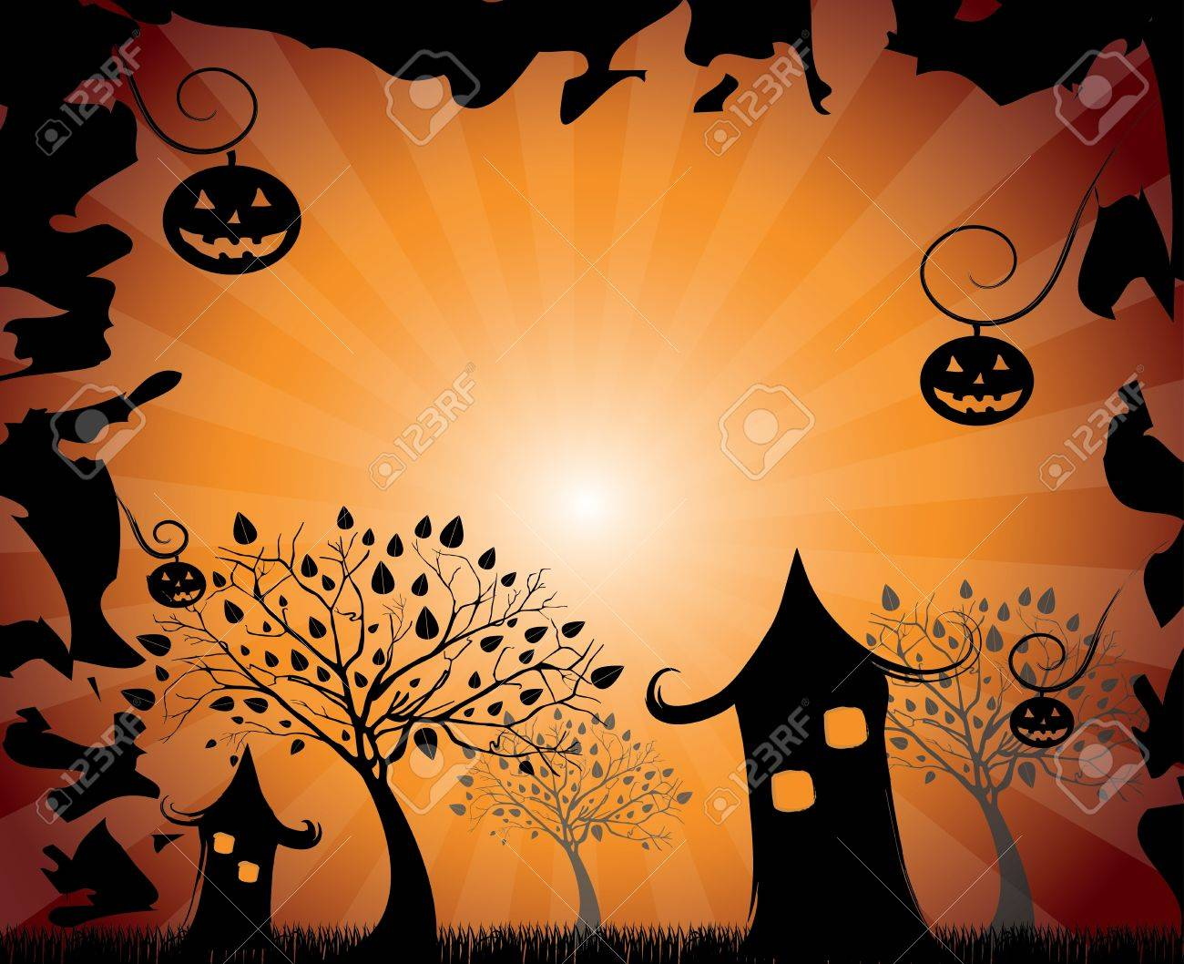 halloween design over orange background vector illustration Stock Vector - 21875250