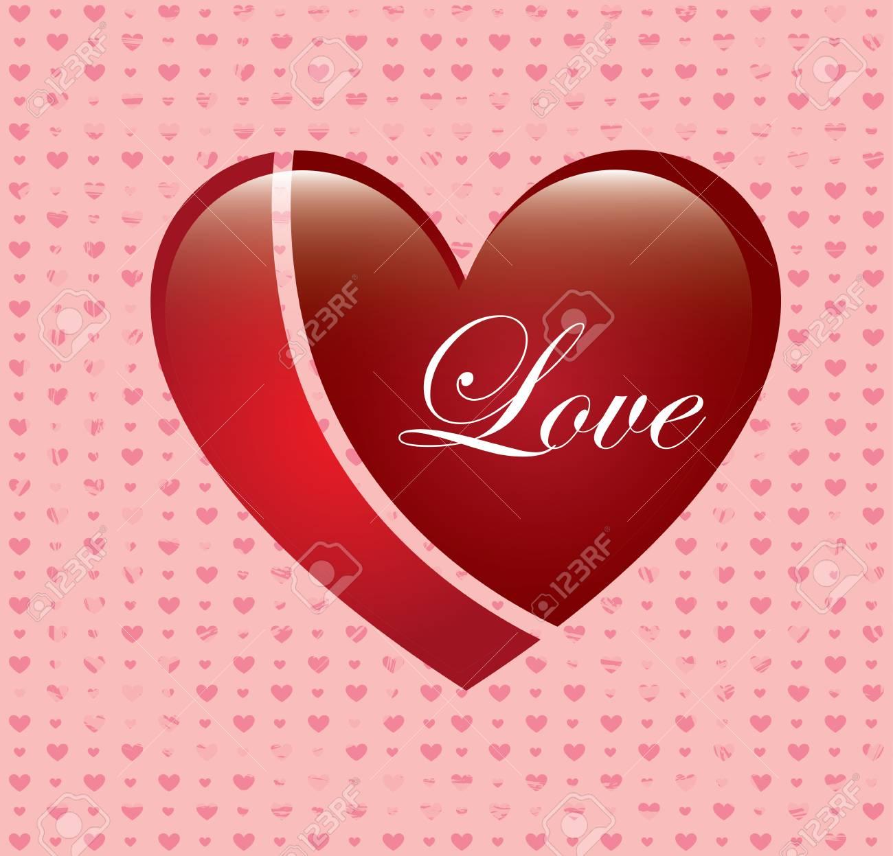 love heart over pink background vector illustration Stock Vector - 22327228