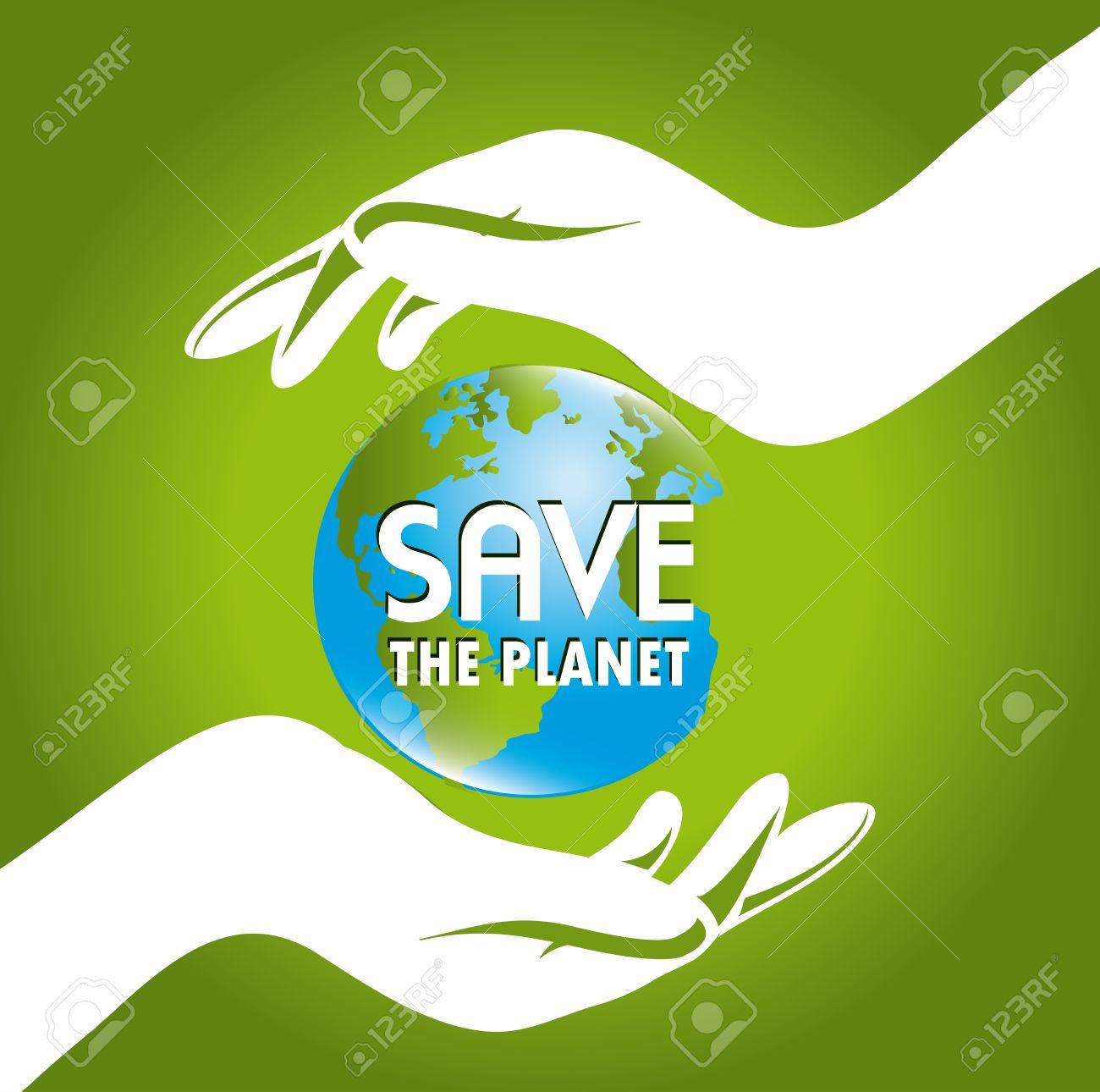 Poster design on save earth - Ecological Poster Save The Earth Design Over Green Background Vector Illustration Illustration
