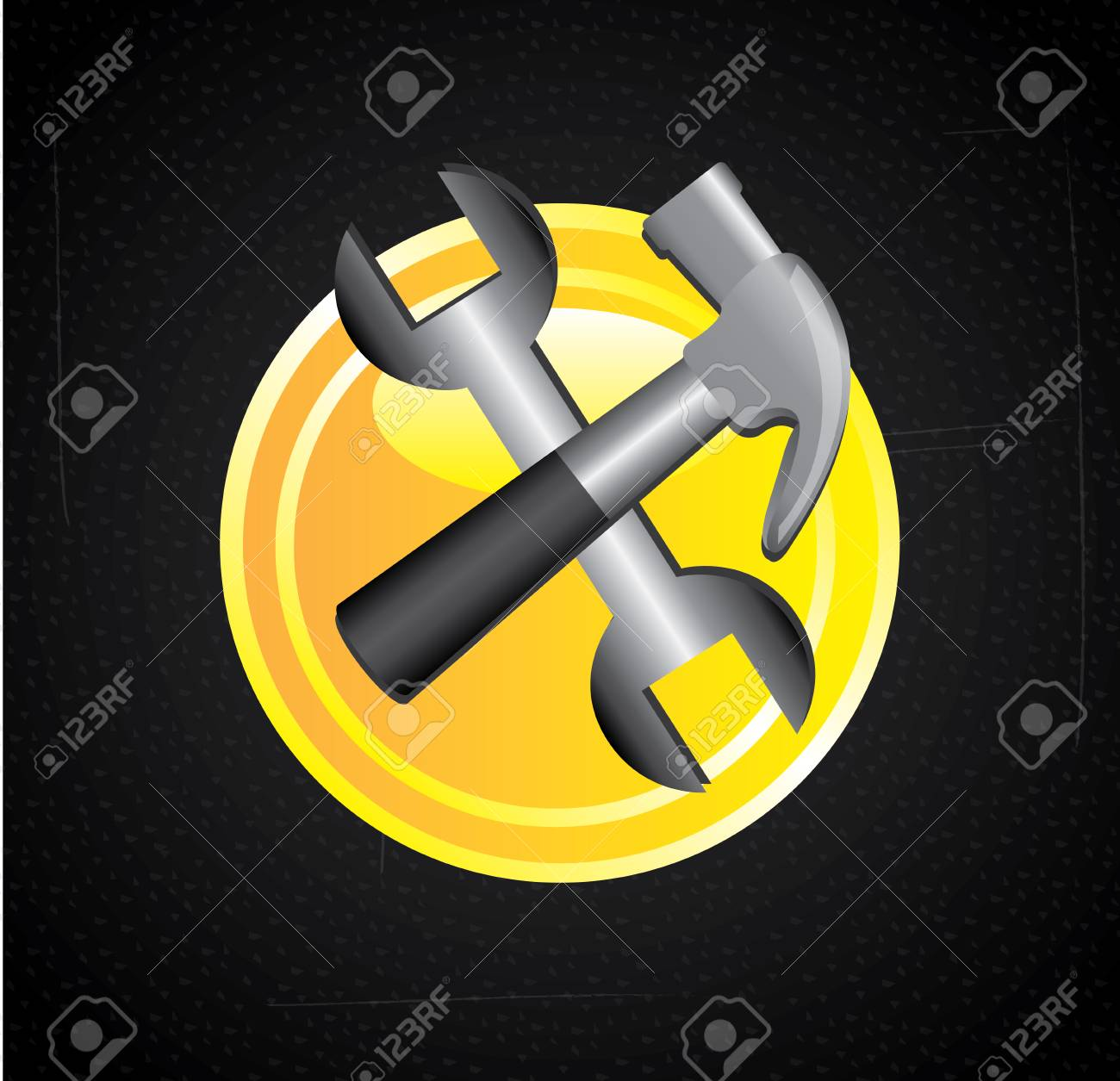 hammer and wrench isolated over black background. vector illustration Stock Vector - 22452792