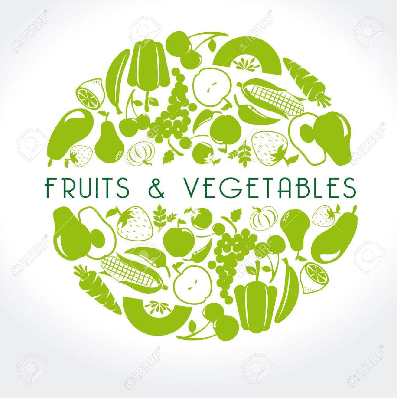 fruits and vegetables label over white background vector illustration - 22453129