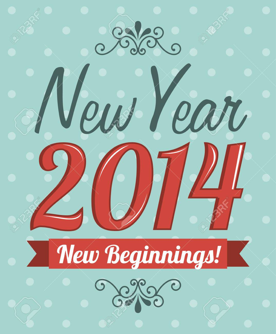 happy new year 2014 over dotted background  vector illustration Stock Vector - 22750736