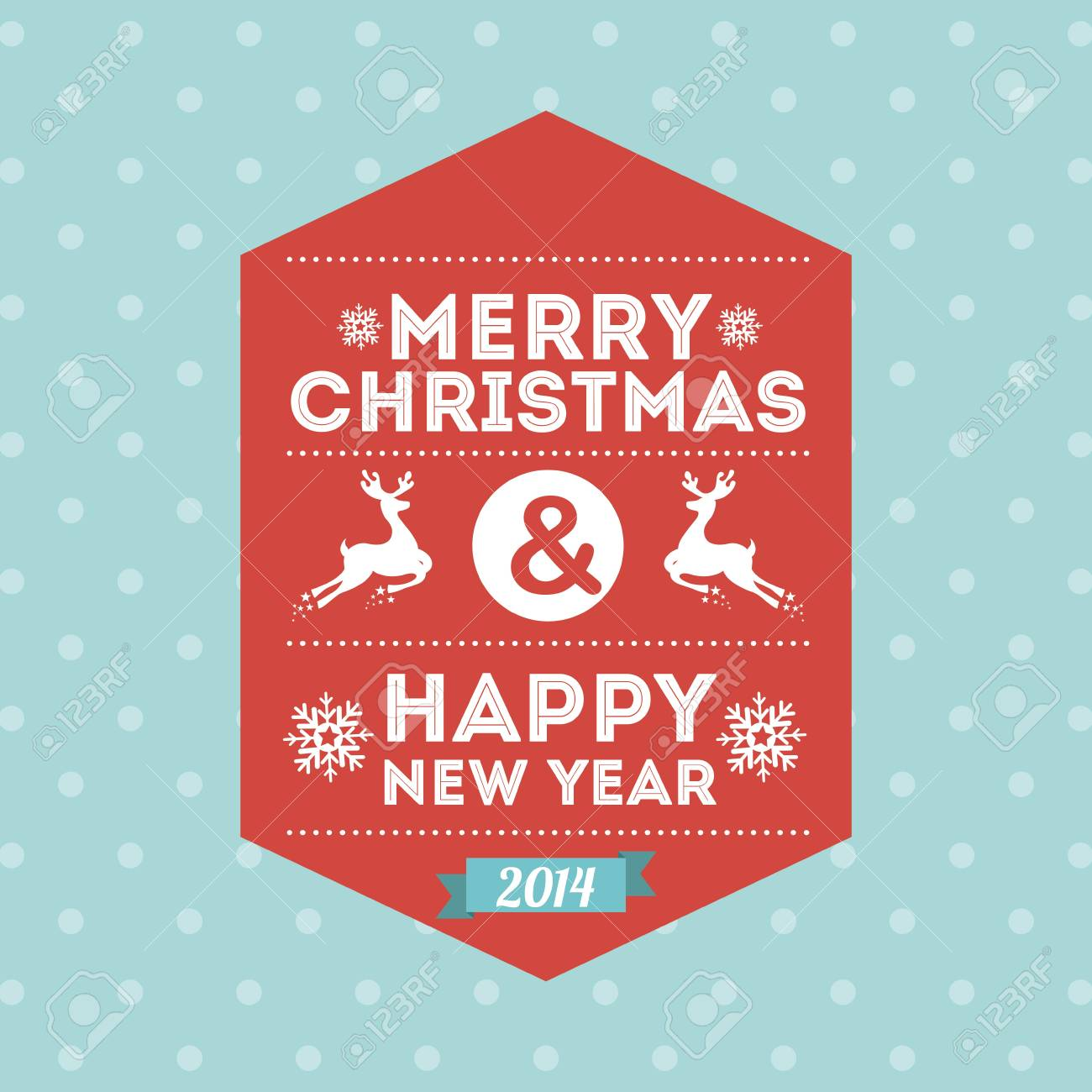 merry christmas and happy new year  over dotted background  vector illustration Stock Vector - 22959387