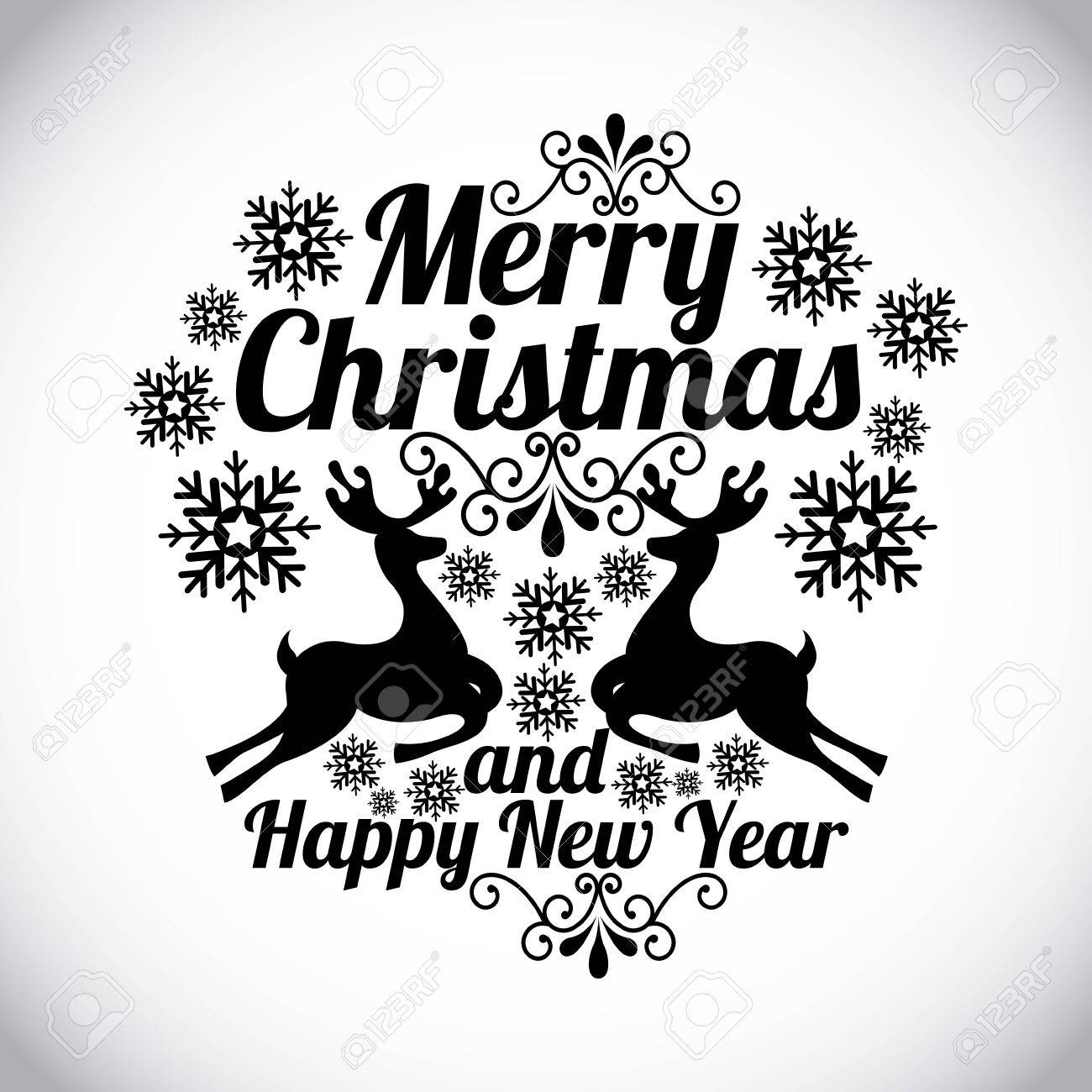 Merry Christmas And Happy New Year Over Gray Background Vector Illustration Stock