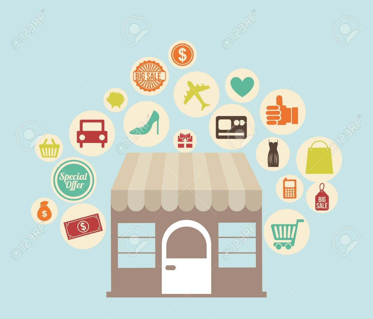shopping icons over  background vector illustration Stock Vector - 23063788