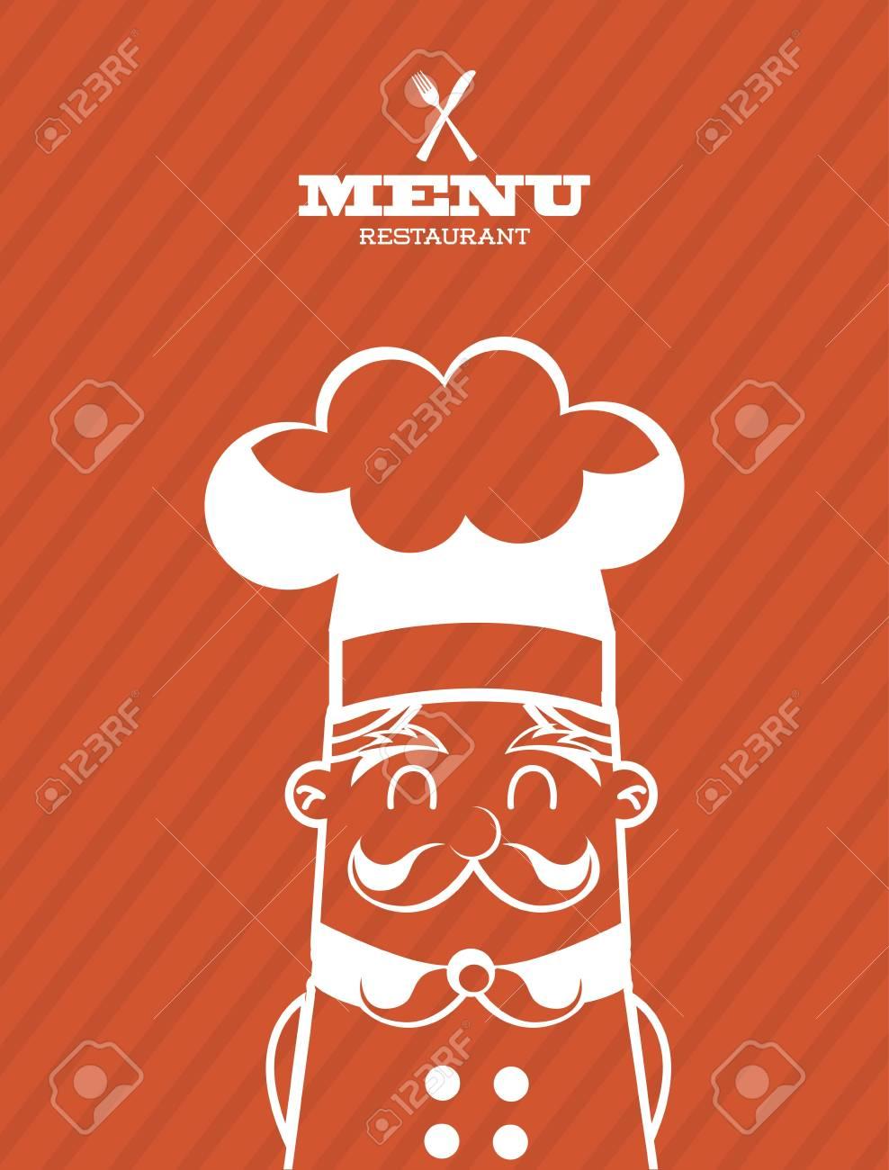chef icon over orange background  vector illustration Stock Vector - 23234828