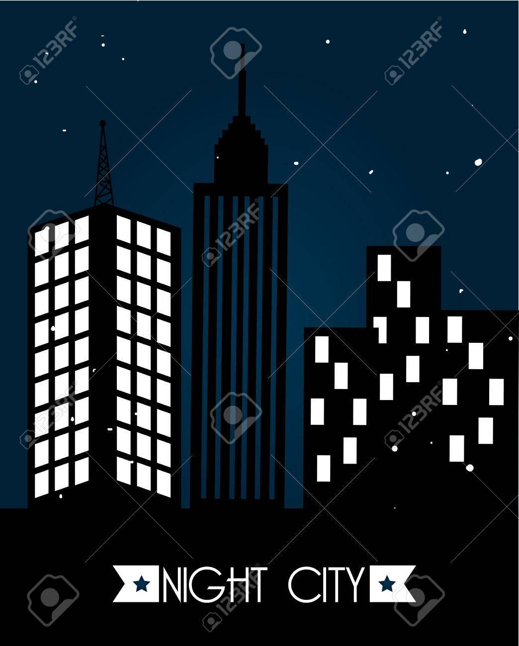 Vettoriale Città Disegno Nel Cielo Notturno Di Sfondo