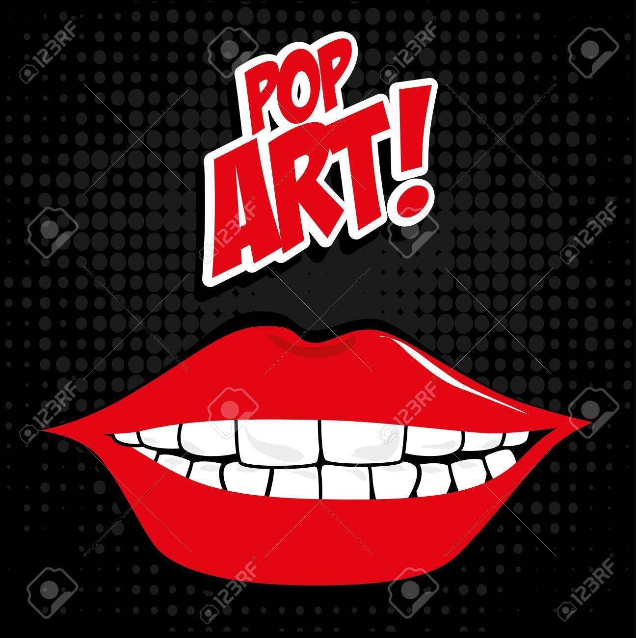 pop art   over black   background vector illustration Stock Vector - 26379597