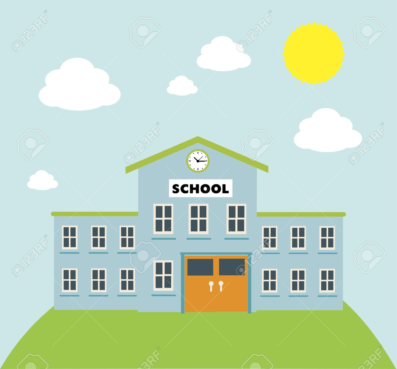 school build graphic over blue background vector illustration Stock Vector - 26413632