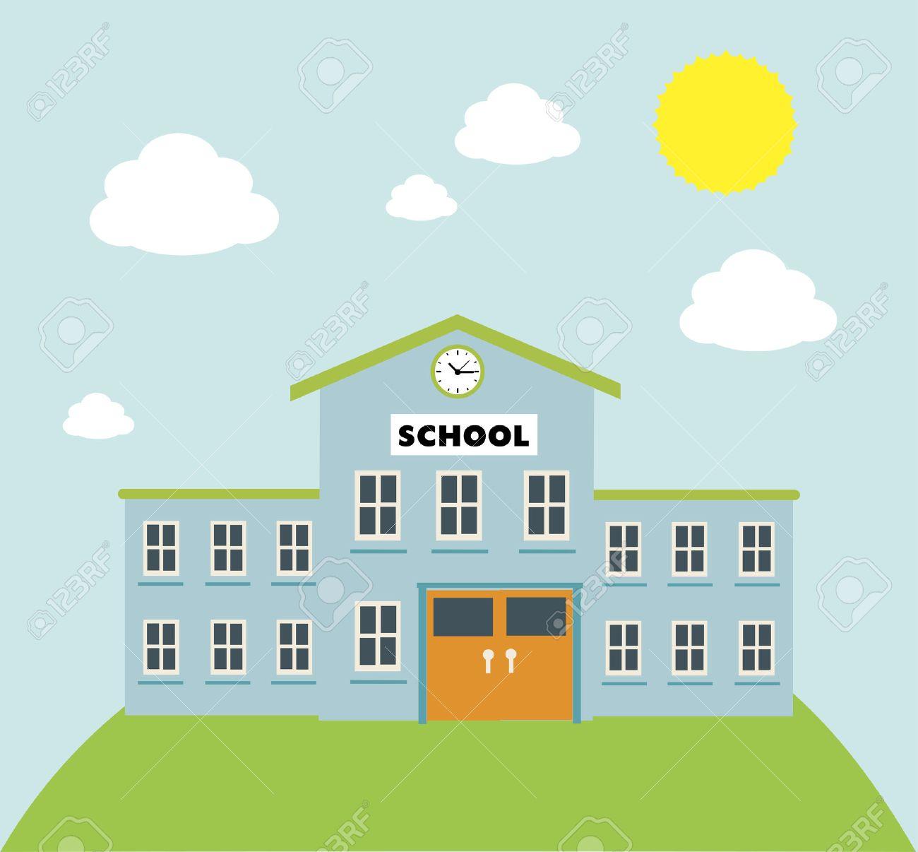 school build graphic over blue background vector illustration rh 123rf com school vector icon school vector icon