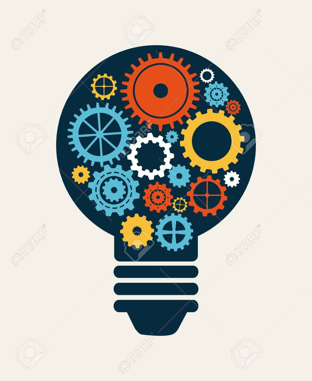 Light Bulb Industry: Light bulb with gears, Industry concept Stock Vector - 26423609,Lighting