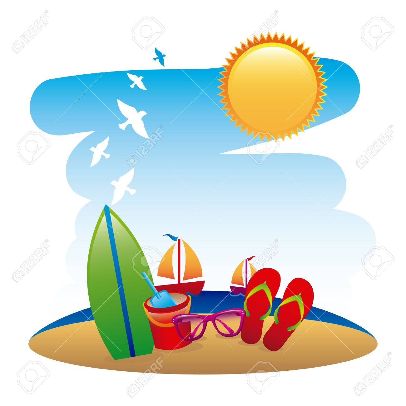 beach design over white background illustration royalty free