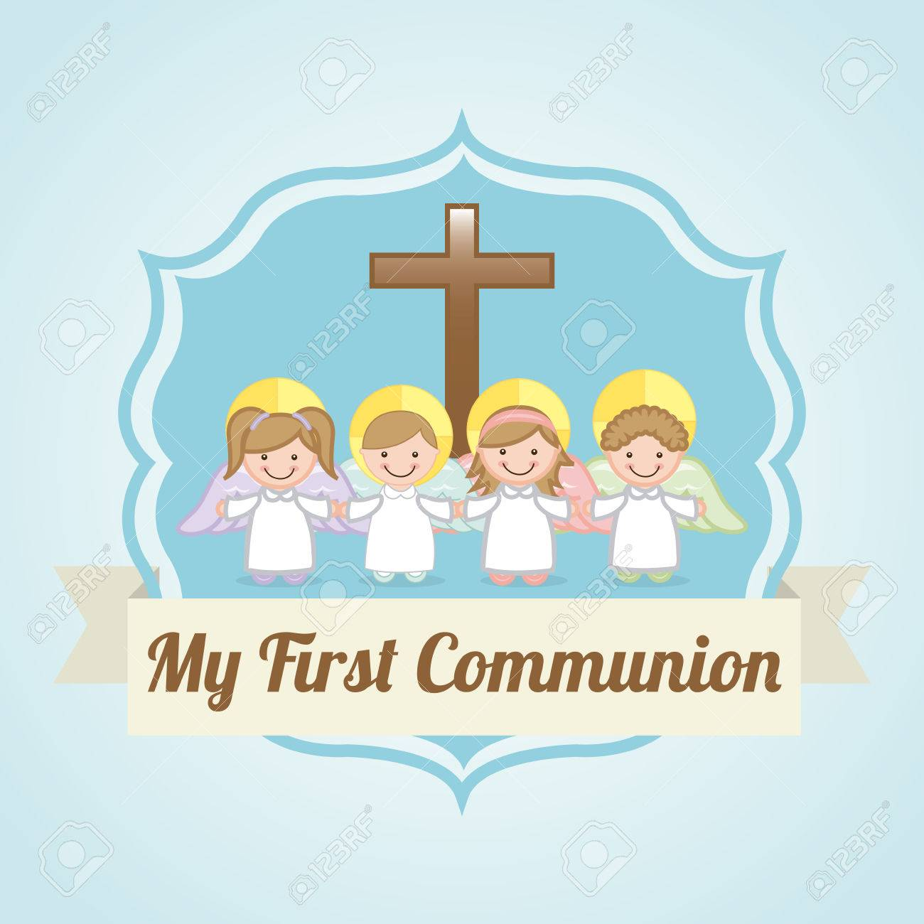 first communion over blue background illustration royalty free