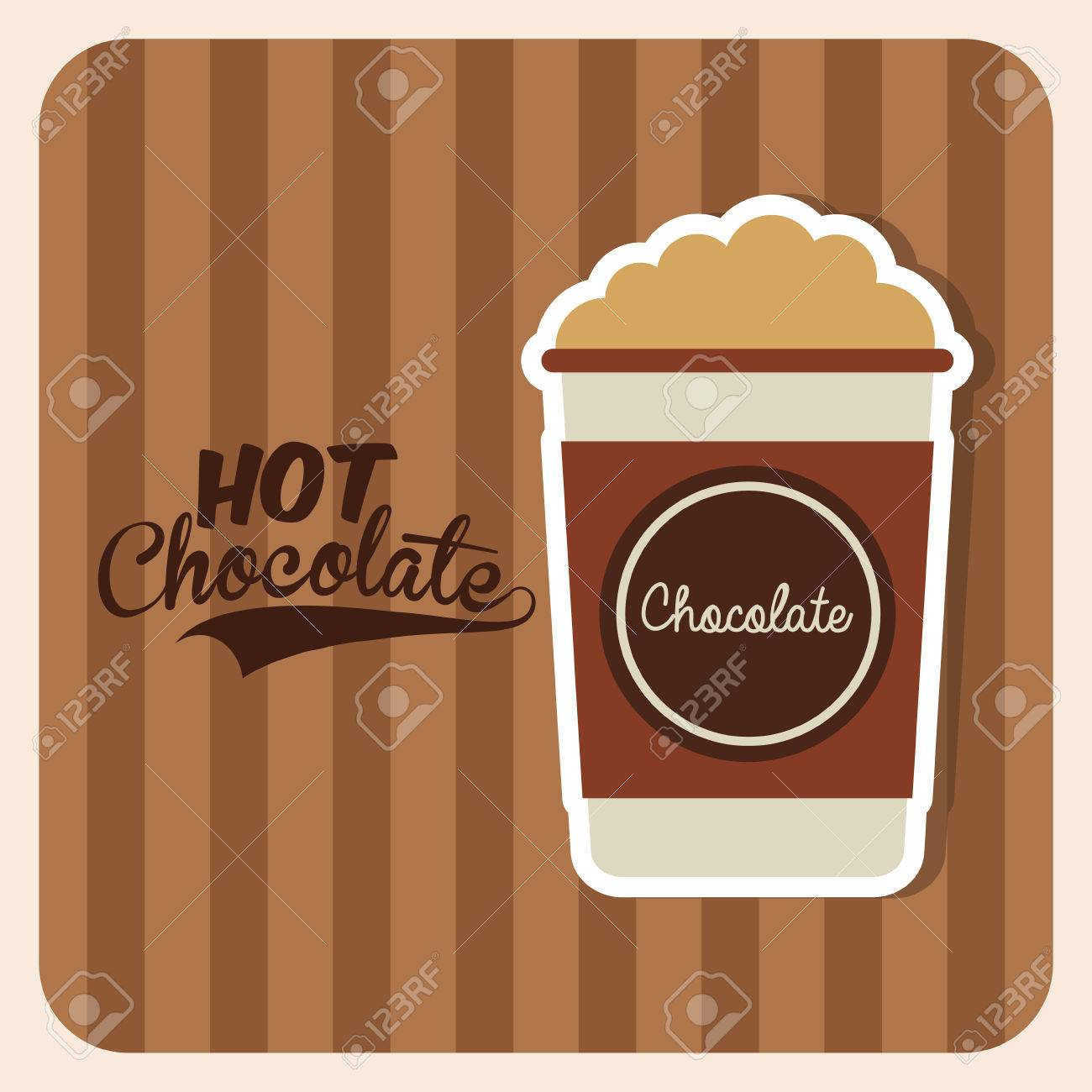Hot Chocolate Drink Design Over Brown Design Royalty Free Cliparts ...