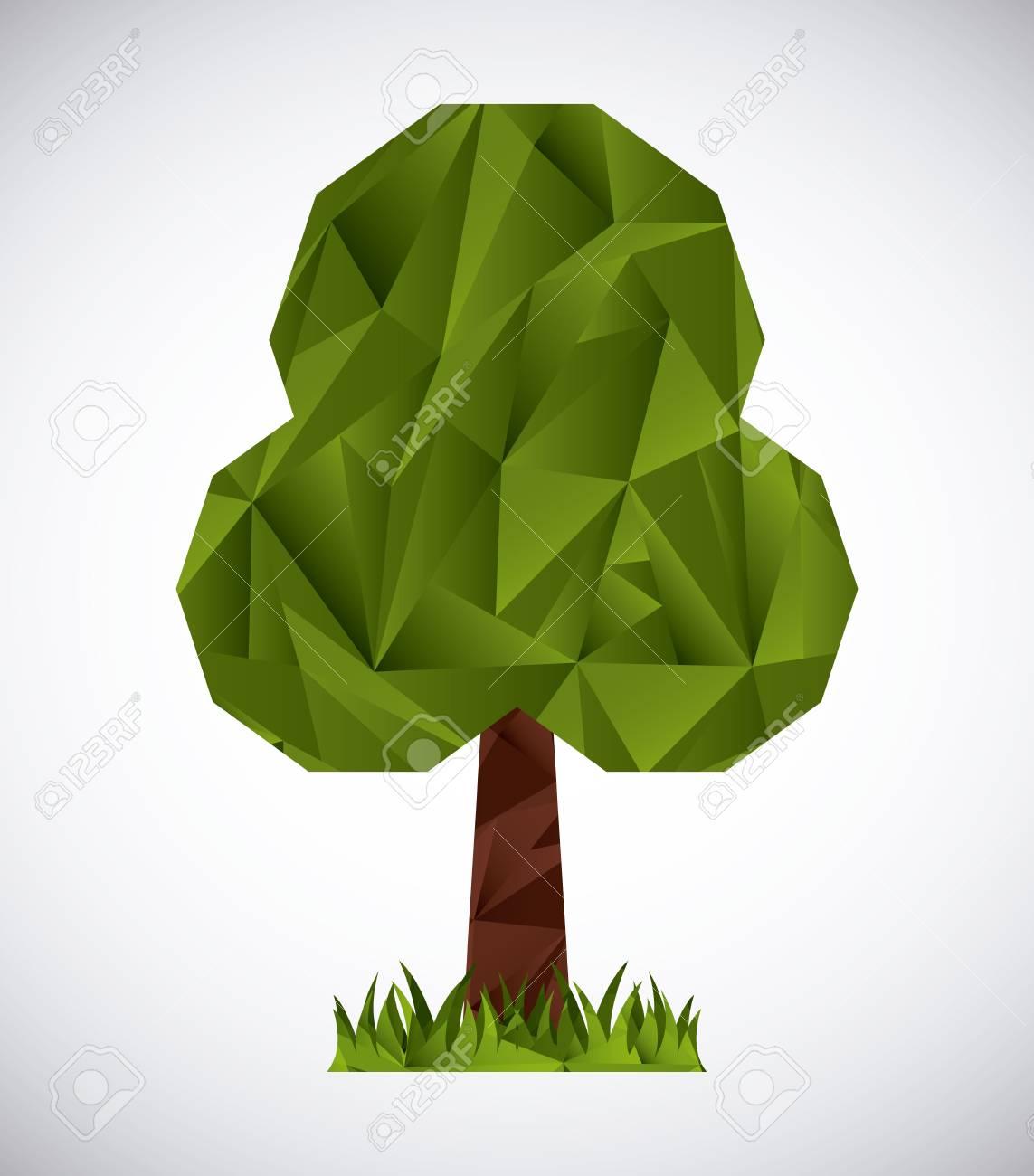 Trees Origami Design Vector Illustration Stock