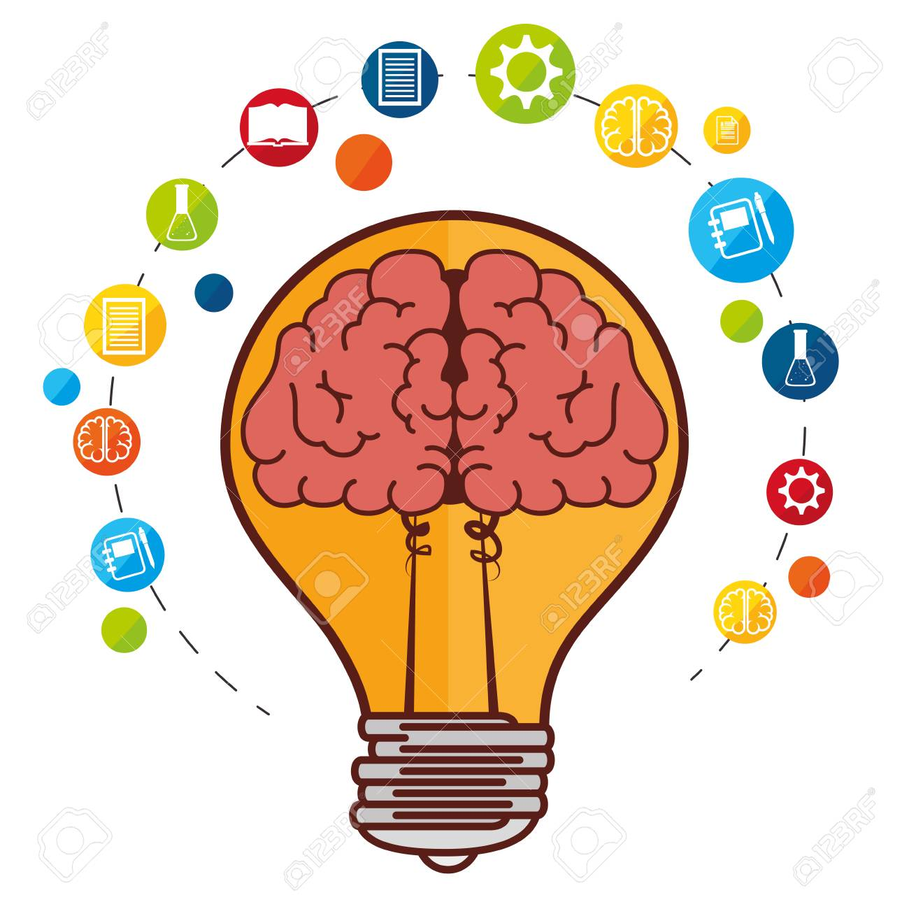 human brain creative ideas graphic design royalty free cliparts