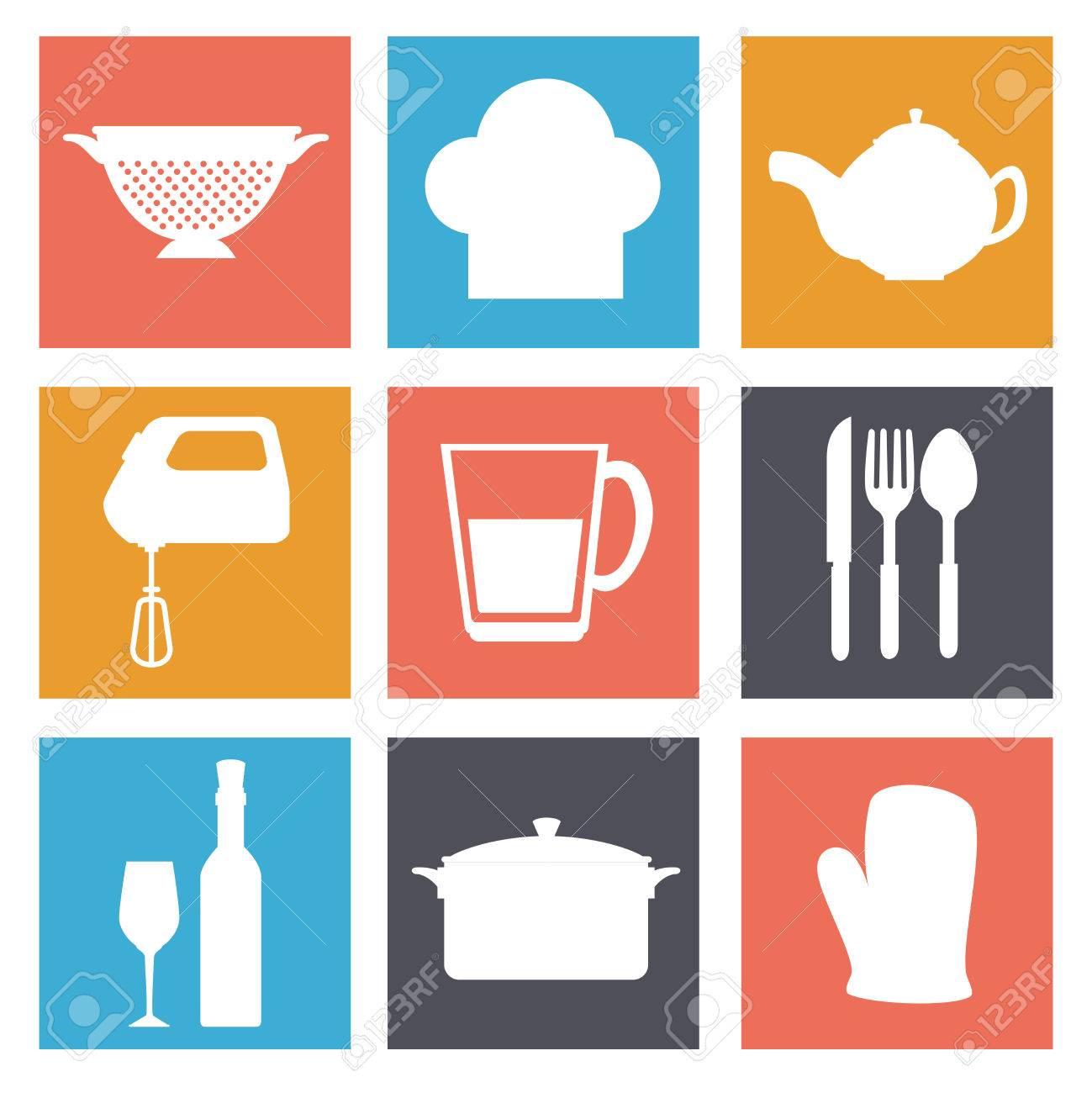 Vajilla utensilios de cocina de diseño gráfico con iconos