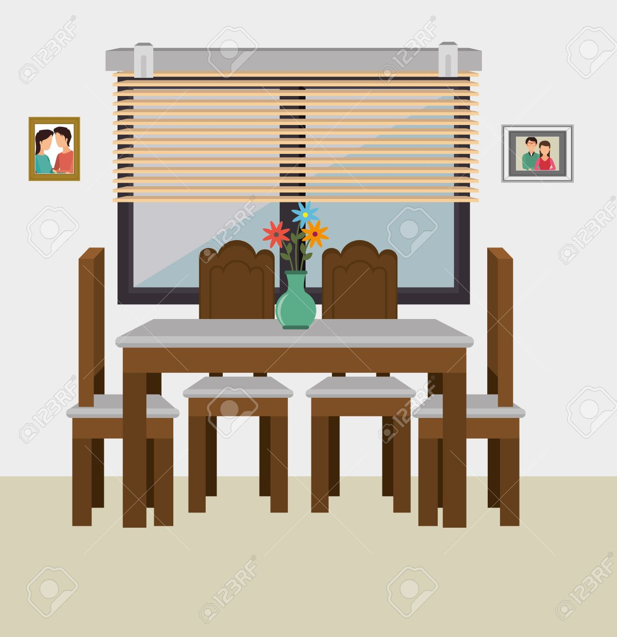 Dining Room Interior Graphic Design Vector Illustration Eps10 Stock