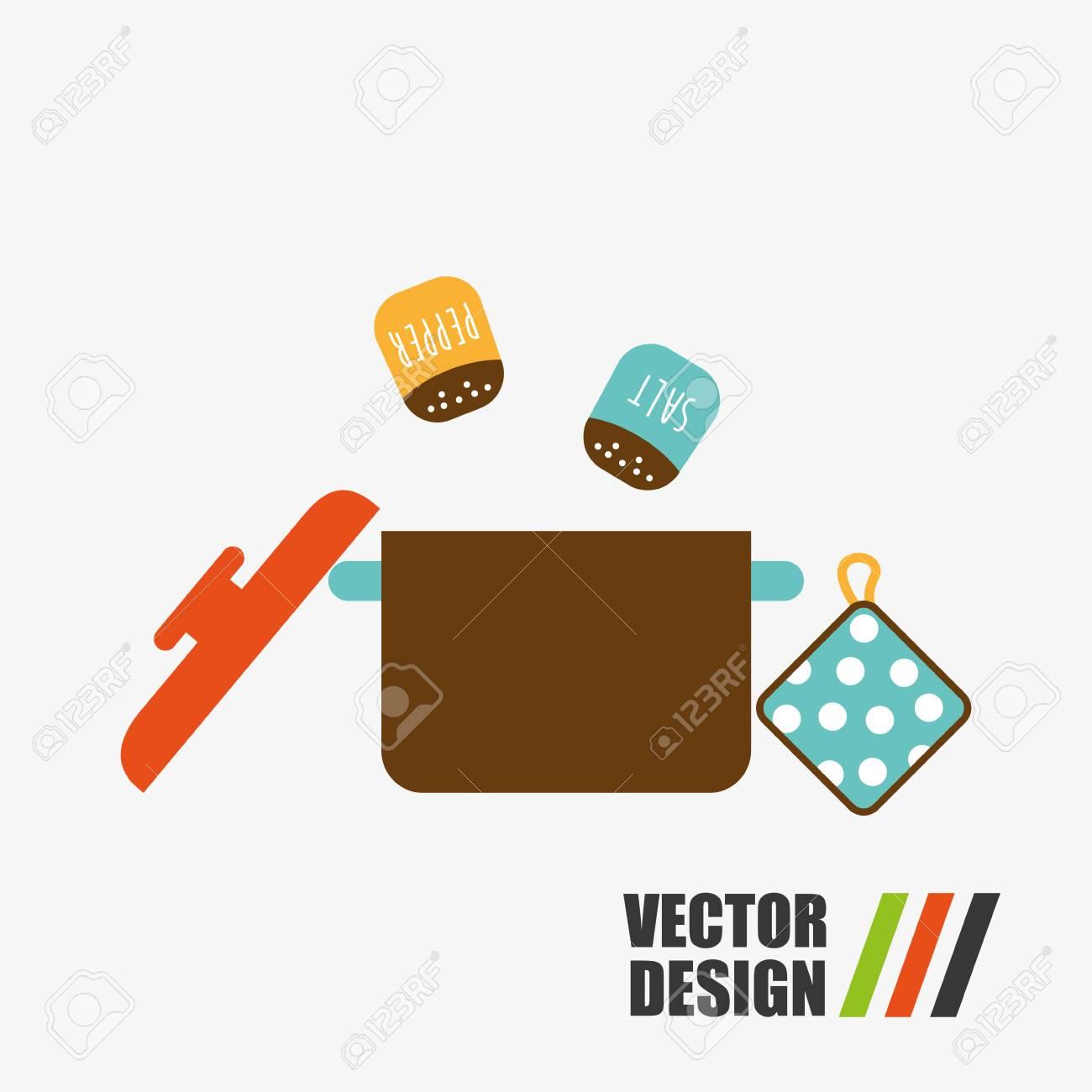 Utensili Da Cucina Di Design, Illustrazione Grafica Vettoriale Eps10 ...