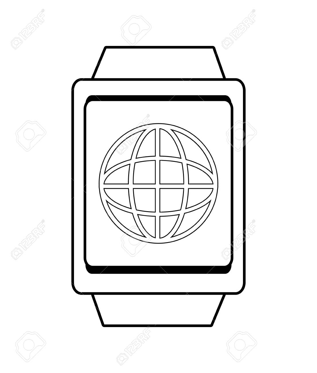 Square watch with world map icon over isolated backgroundvector square watch with world map icon over isolated backgroundvector illustration stock vector 58472271 gumiabroncs Gallery