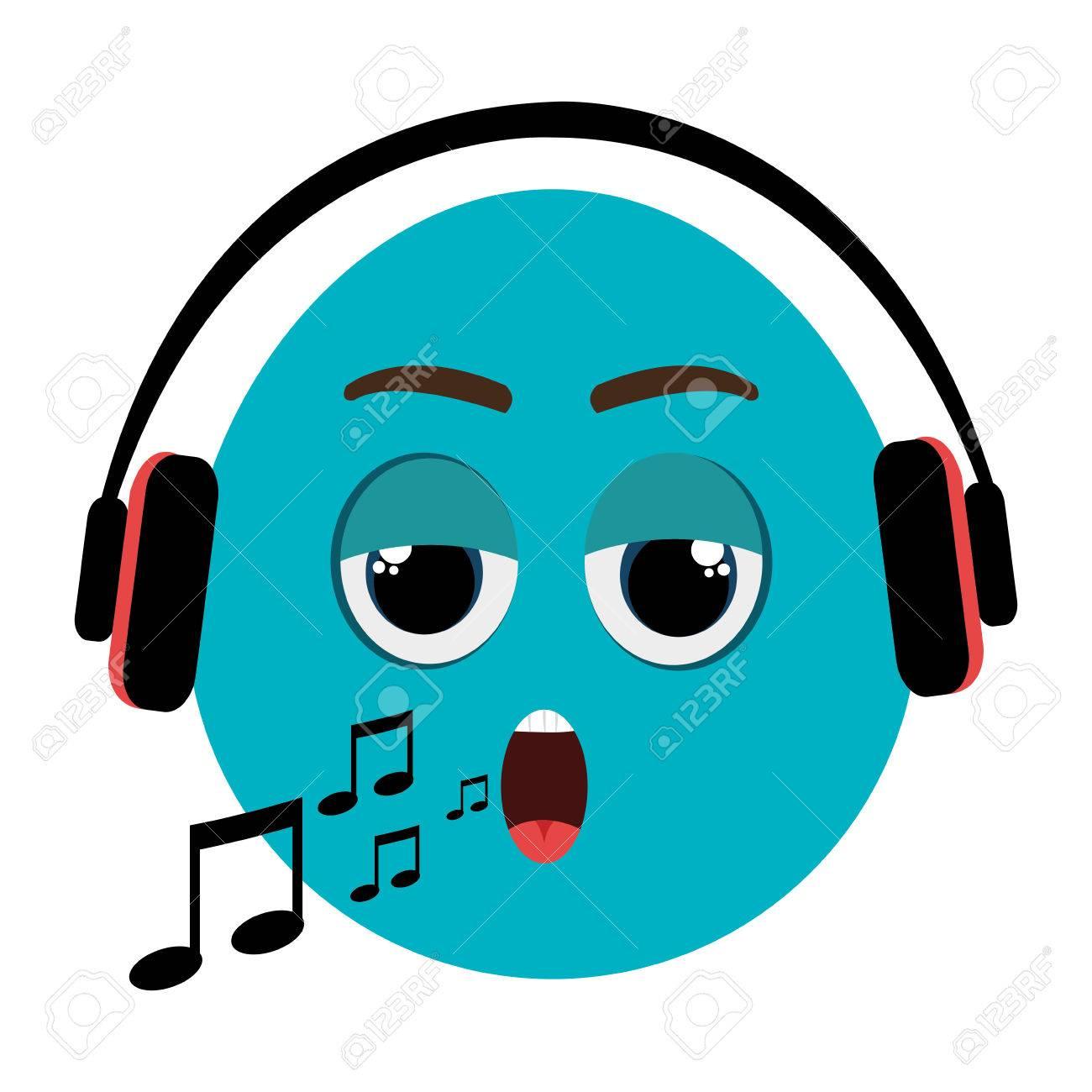 Azul Cara Esférico De Dibujos Animados Cantando Con Notas Musicales