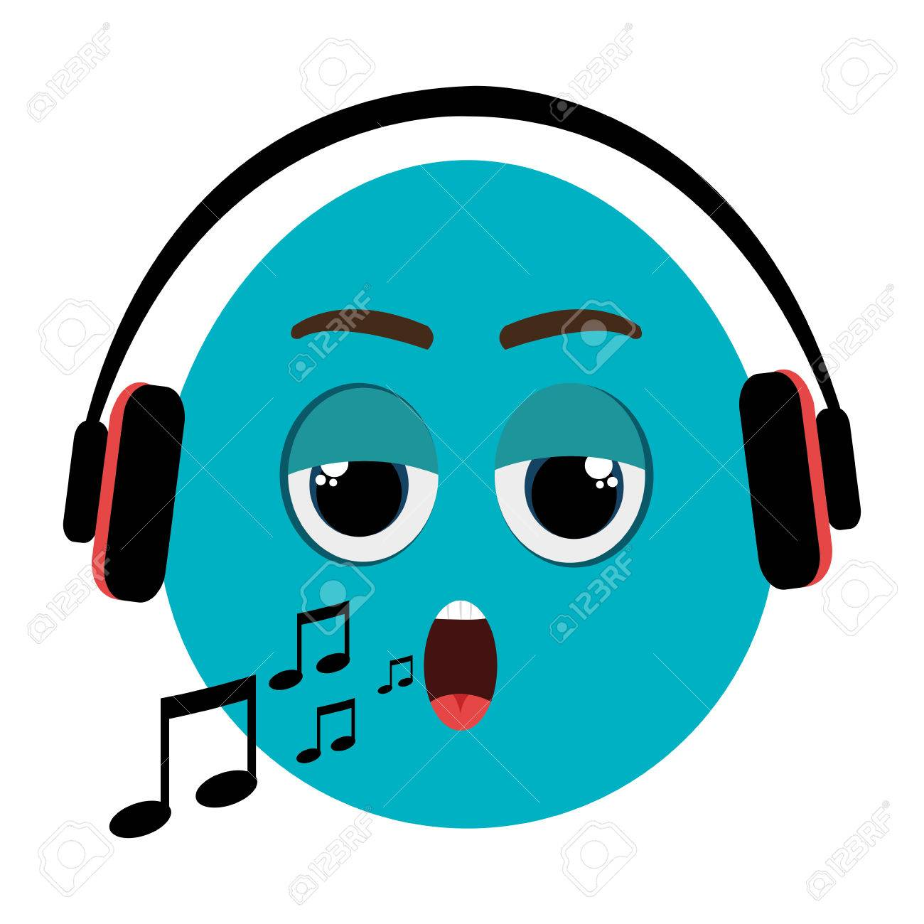 blue cartoon orbed face singing with musical notes and headphones rh 123rf com Music Notes Vector Musical Notes Symbols Vectors