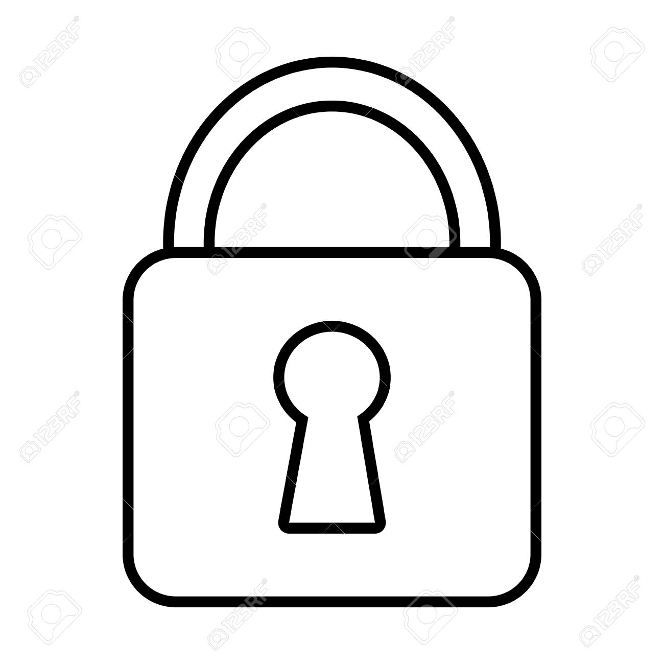 white lock icon with white key space over isolated background vector rh 123rf com