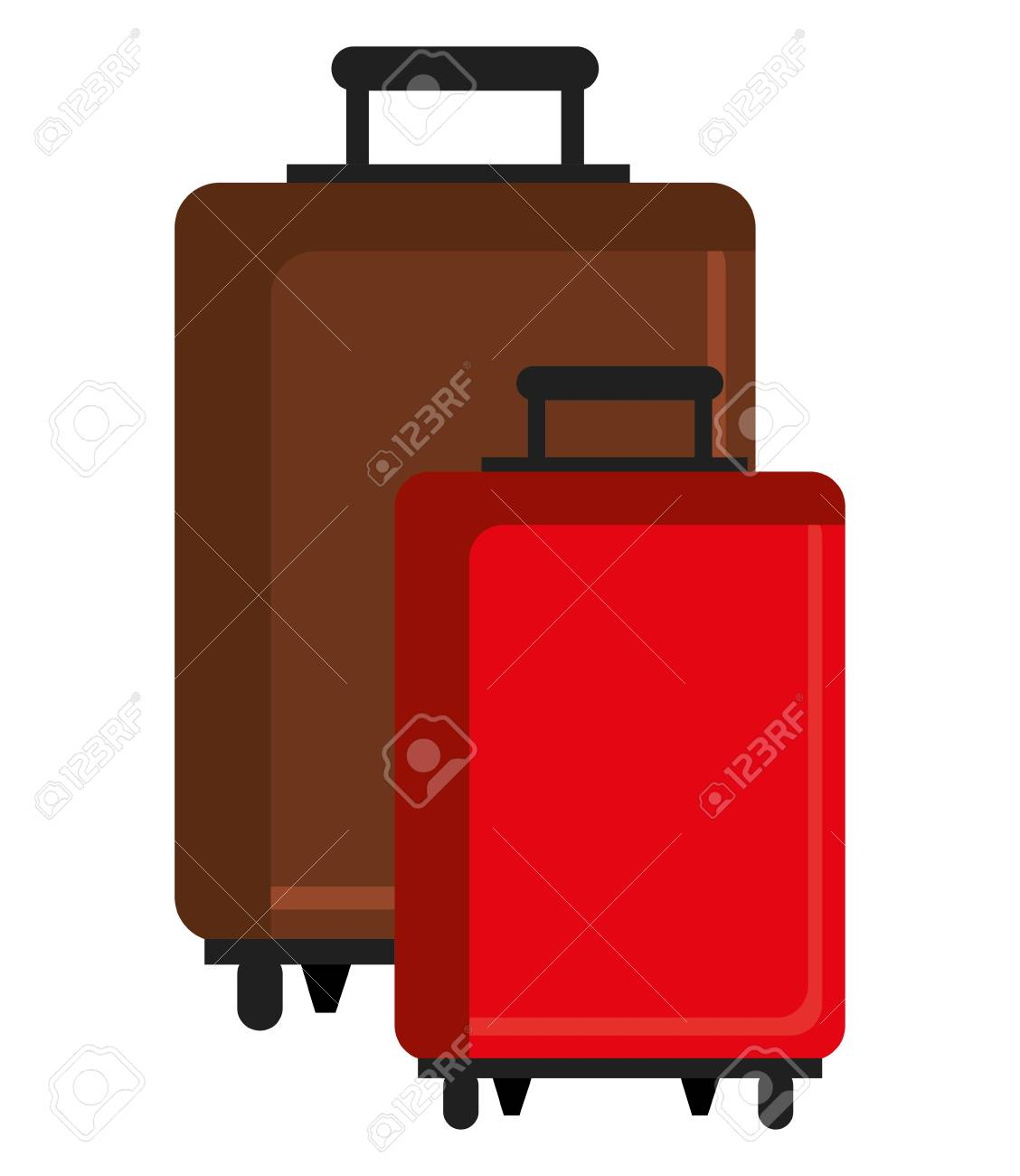 brown and red travle bags front view over isolated background, vector illustration - 59173731
