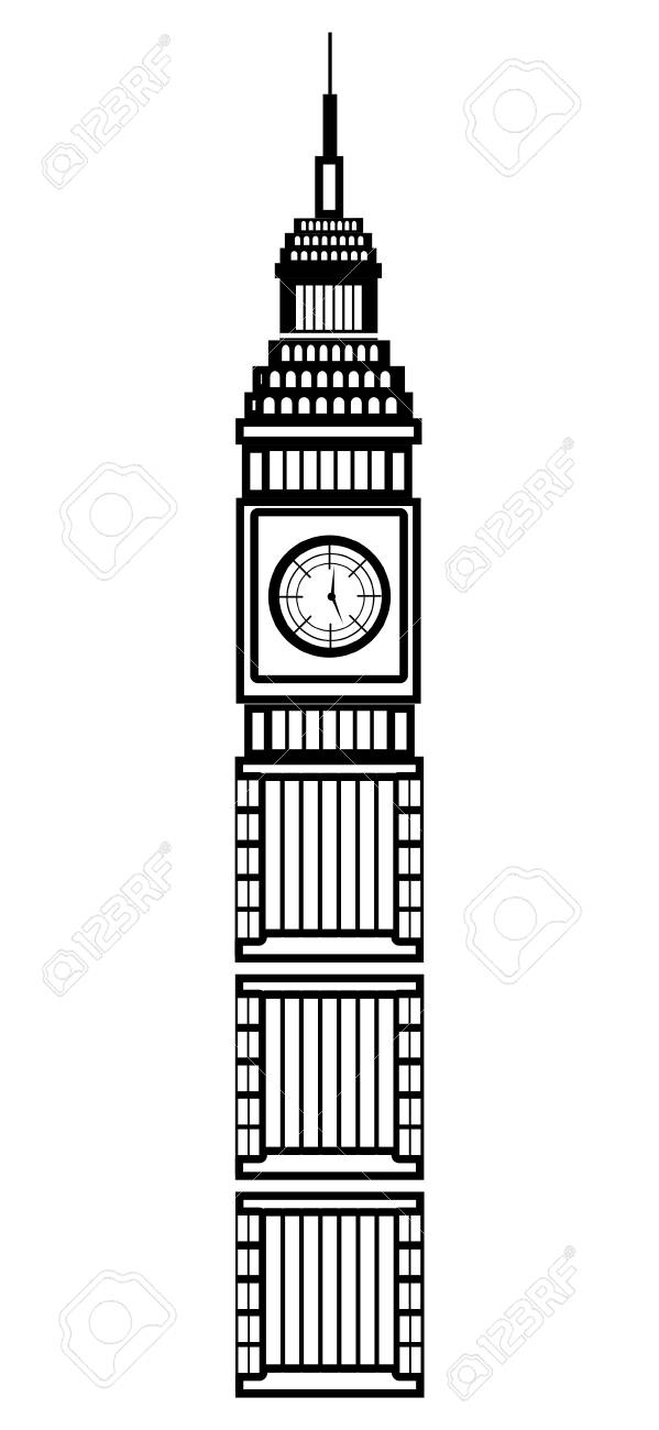black and white big ben building front view over isolated background rh 123rf com