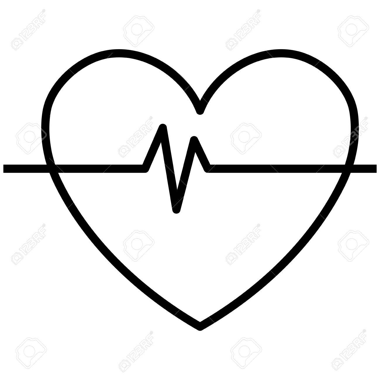 Black And White Heart Design With Heart Beats Icon Over Isolated