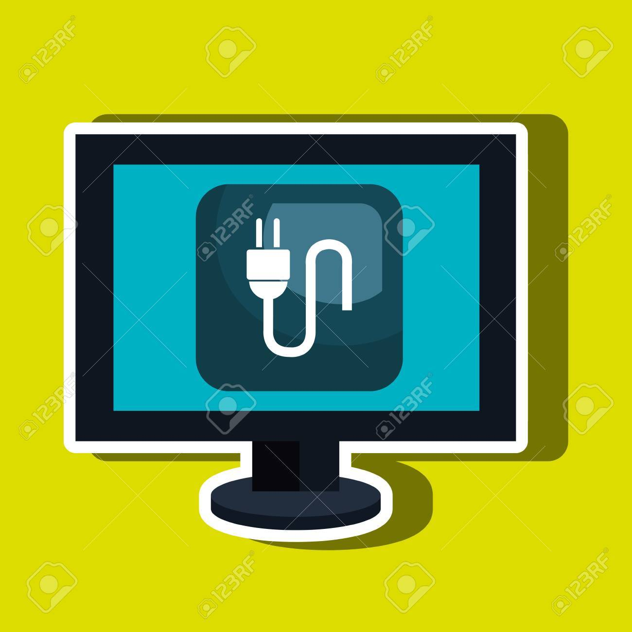 Computer Desktop With Energy Plug Isolated Icon Design Vector