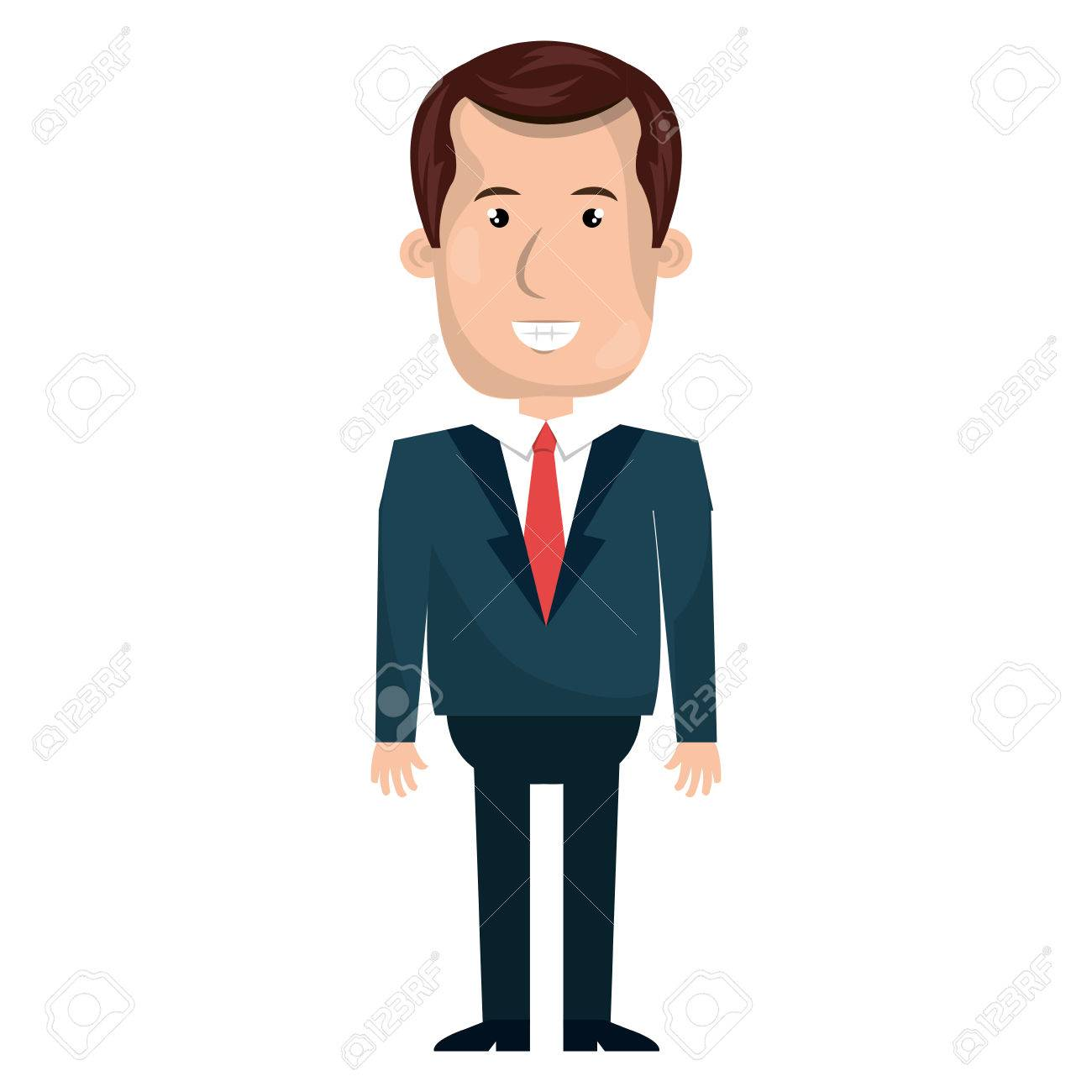 young businessman with elegant suit cartoon vector illustration