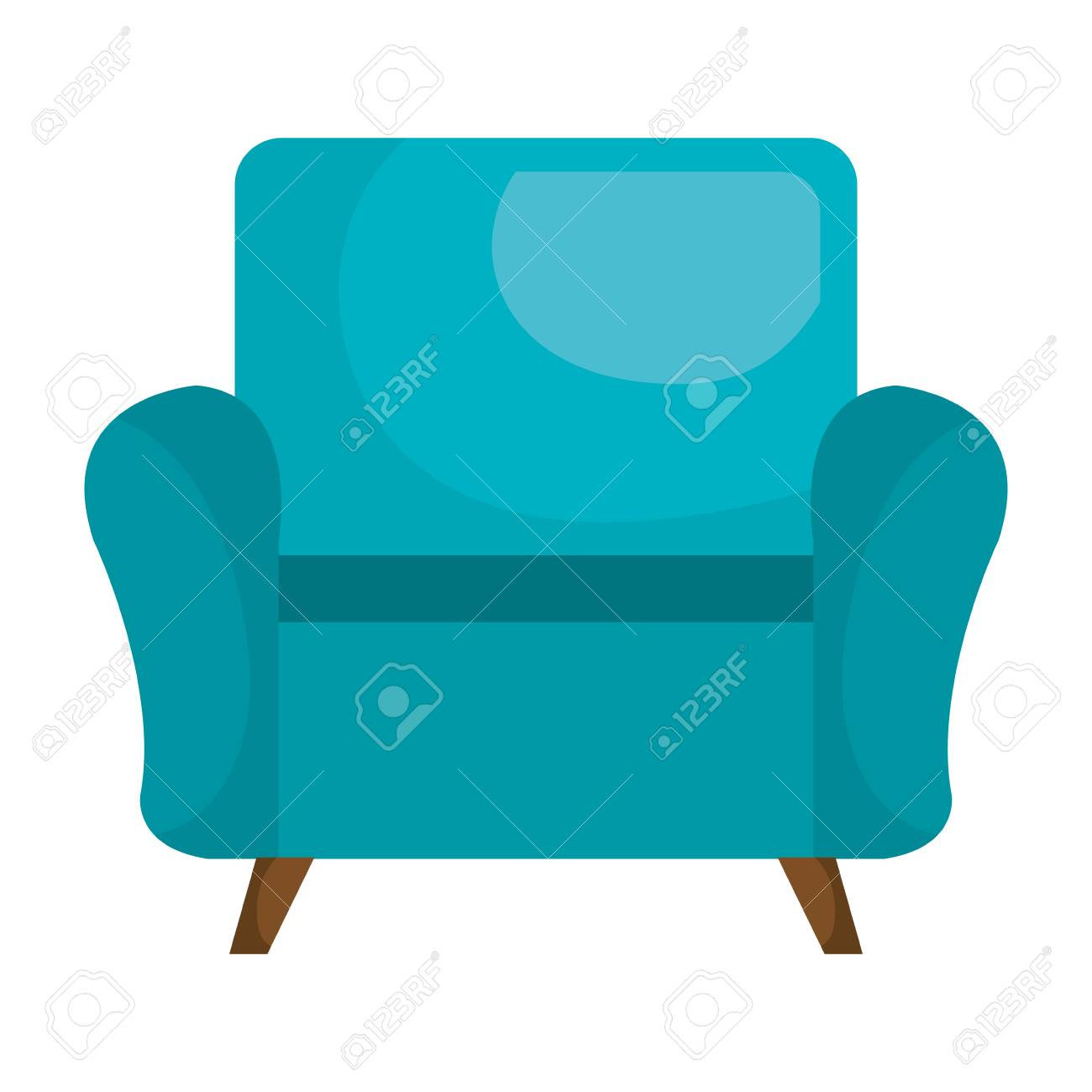 Blaue Sofa Stuhl Möbel Flach Symbol, Vektor Illustration, Grafik, Isoliert.  Standard
