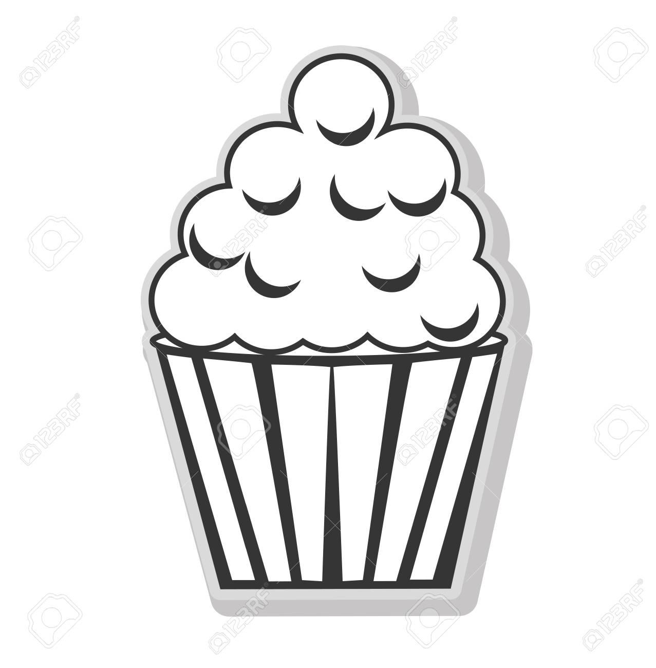 Cupcake Et Desserts En Icône Plate Isolée De Couleurs Noir Et Blanc Illustration Vectorielle