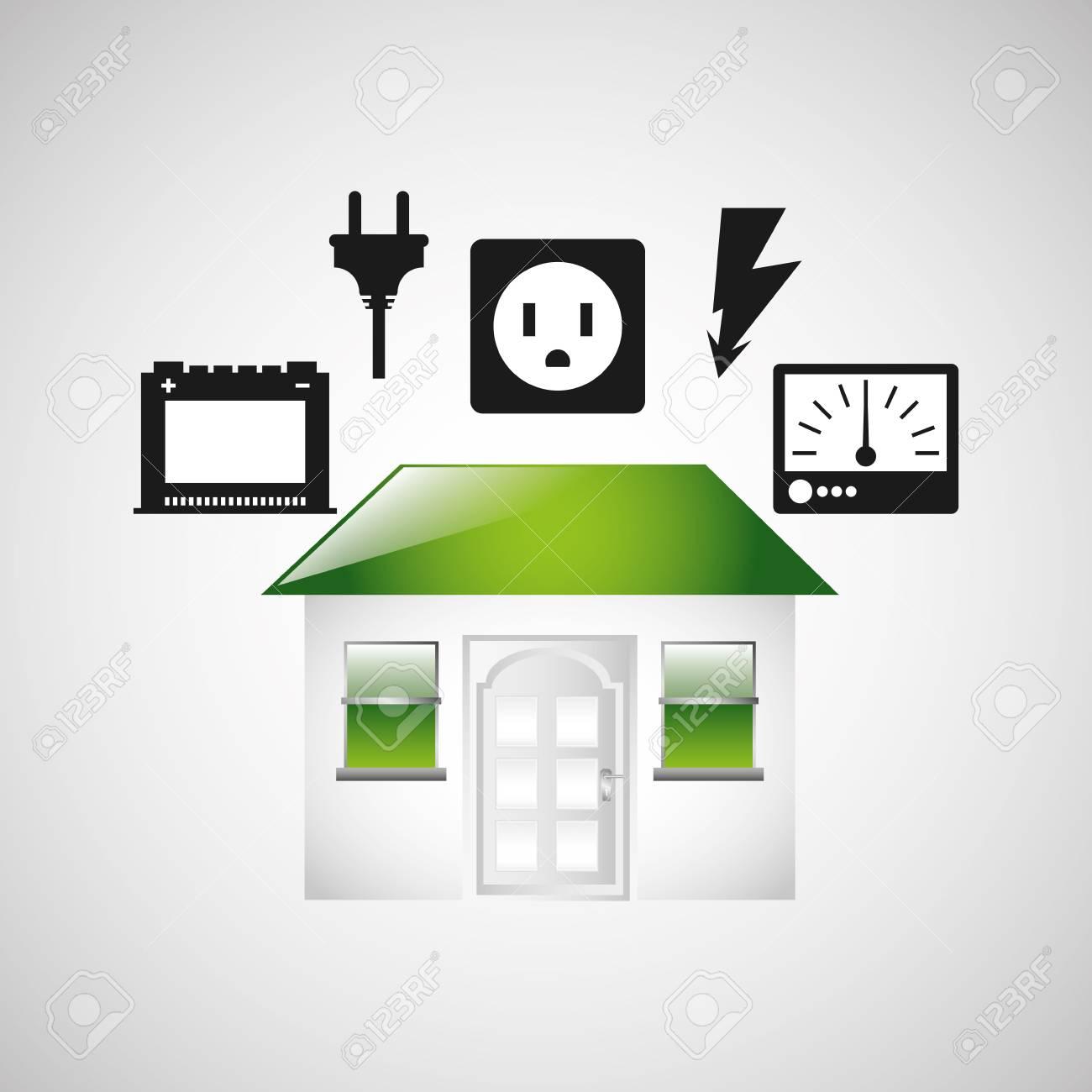 Maison Avec Alimentation électrique Icône Illustration Vectorielle - Alimentation electrique d une maison